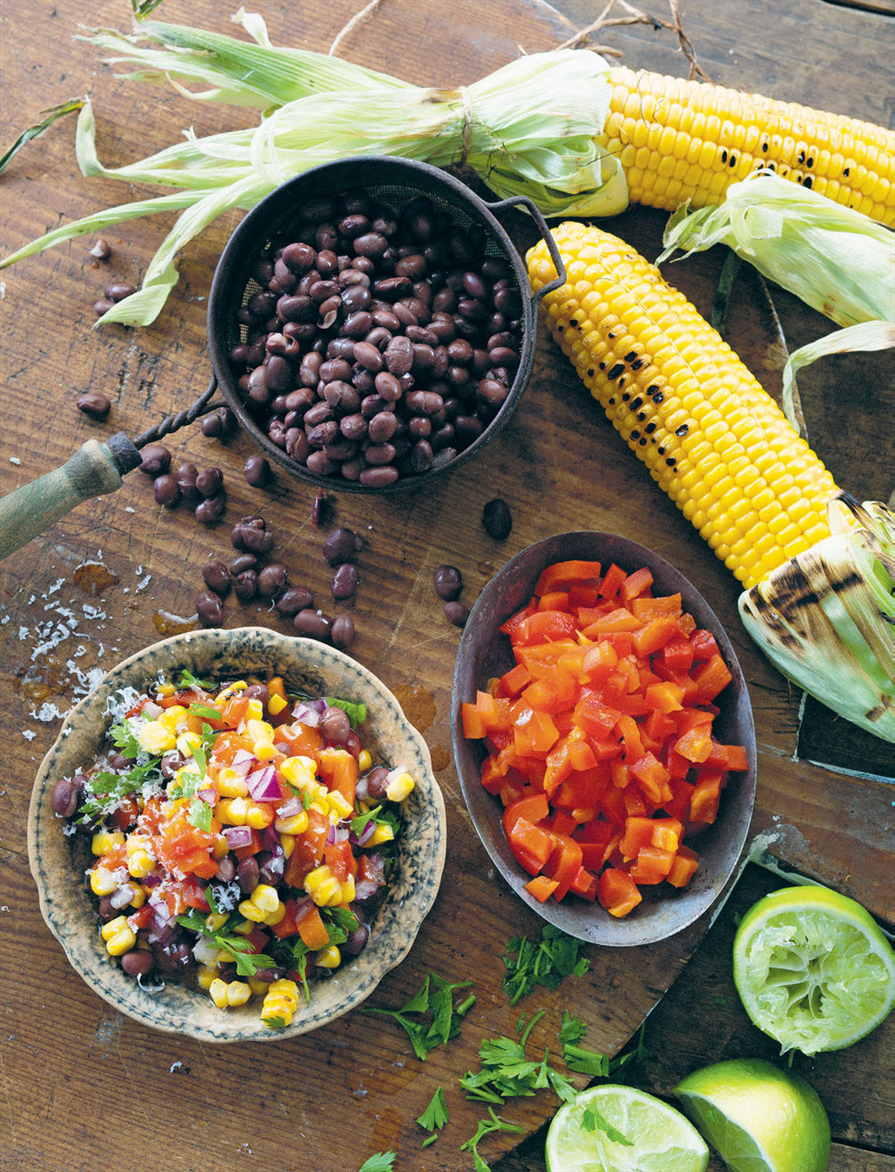 Chargrilled corn and bean salsa
