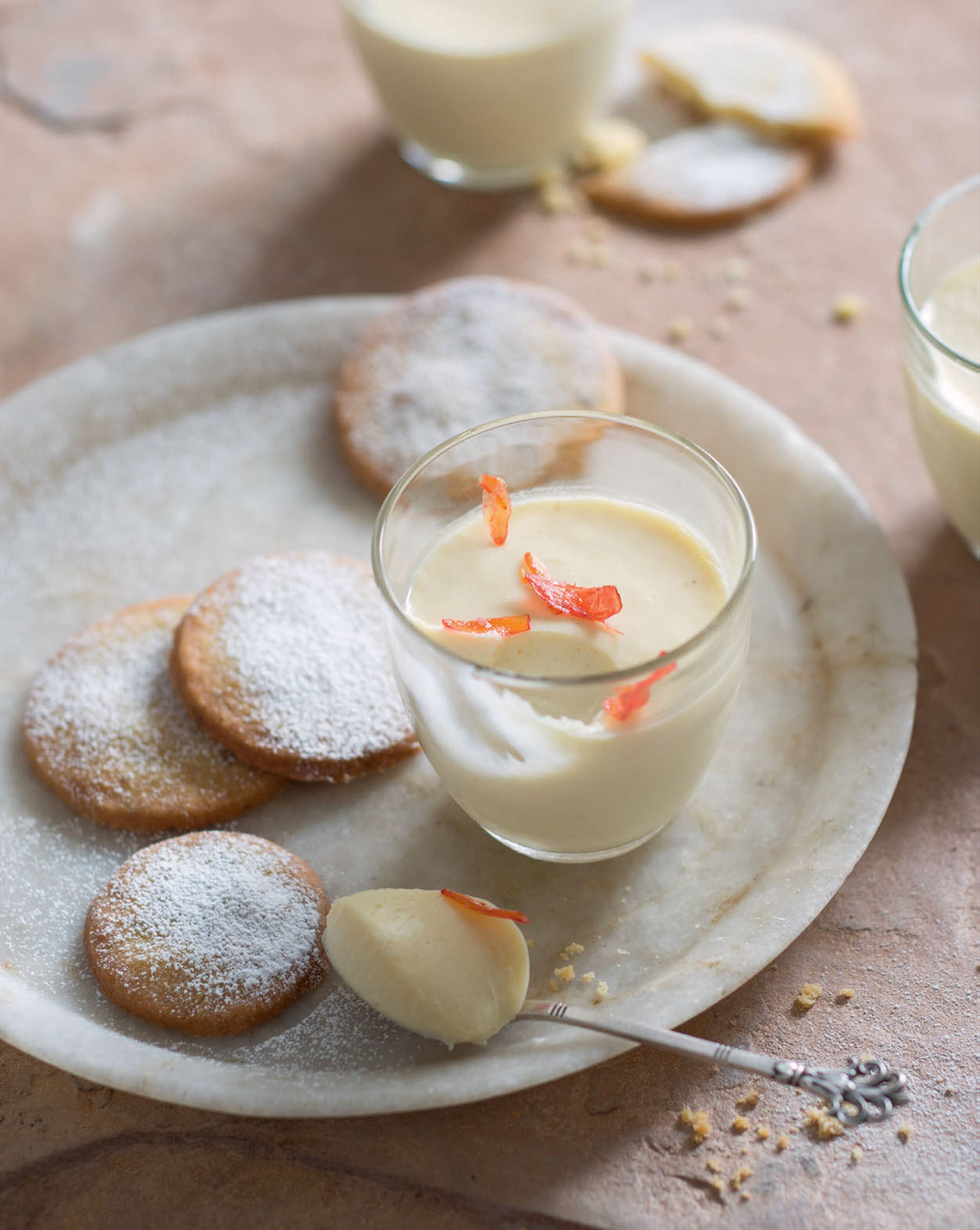 Lemon posset with fennel shortbread thins