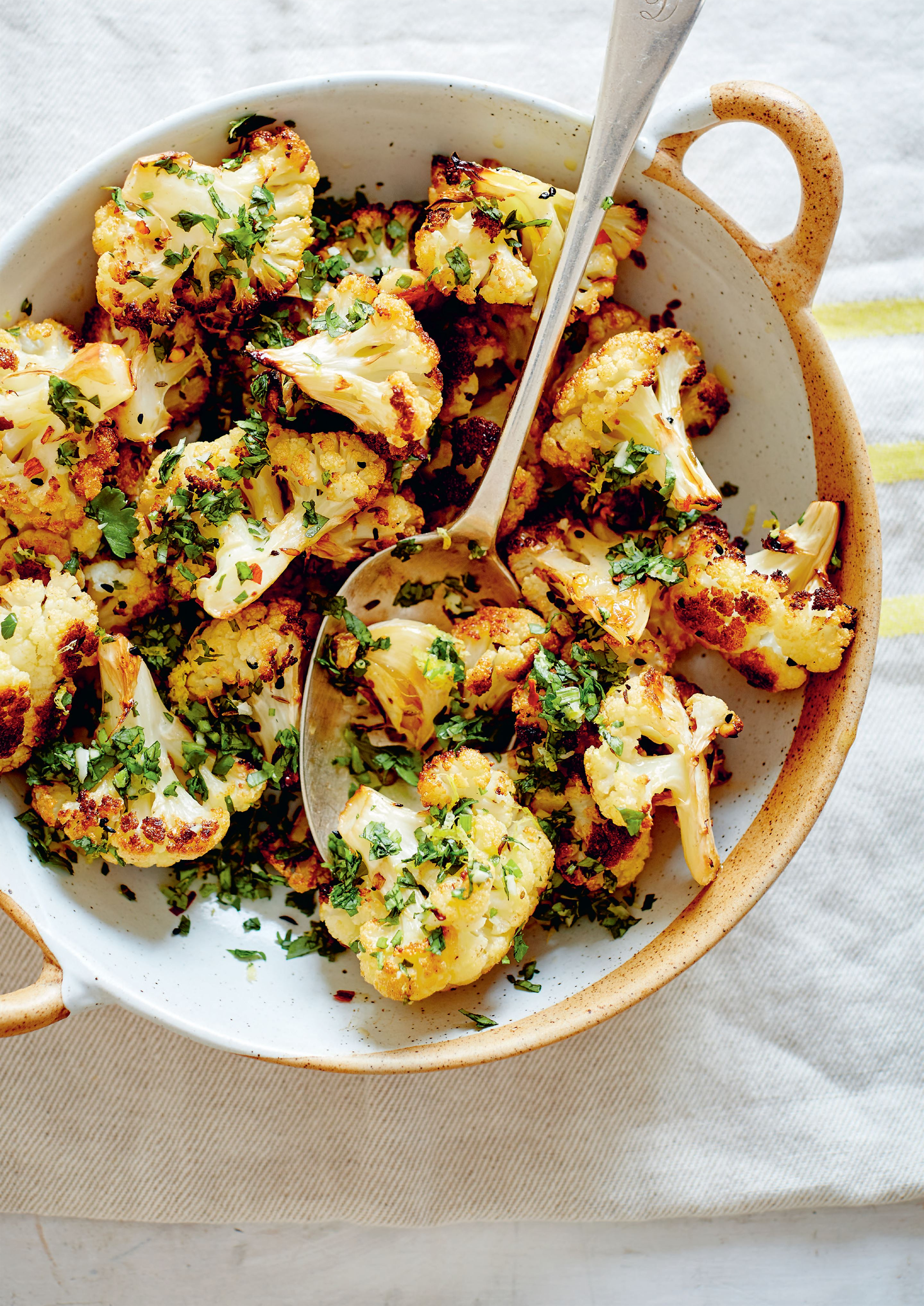 Roasted cauliflower with lemon, nigella seeds and gremolata
