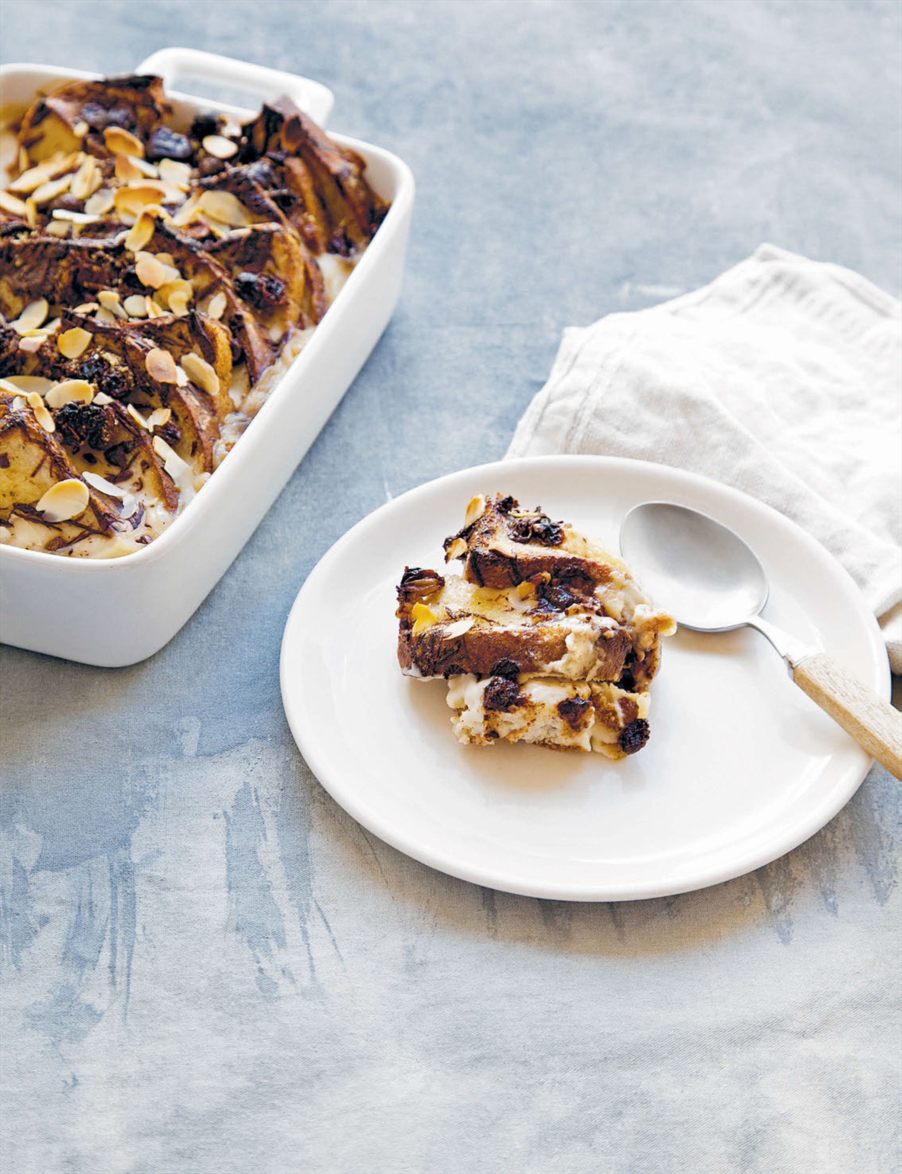 Chocolate and almond bread and butter pudding