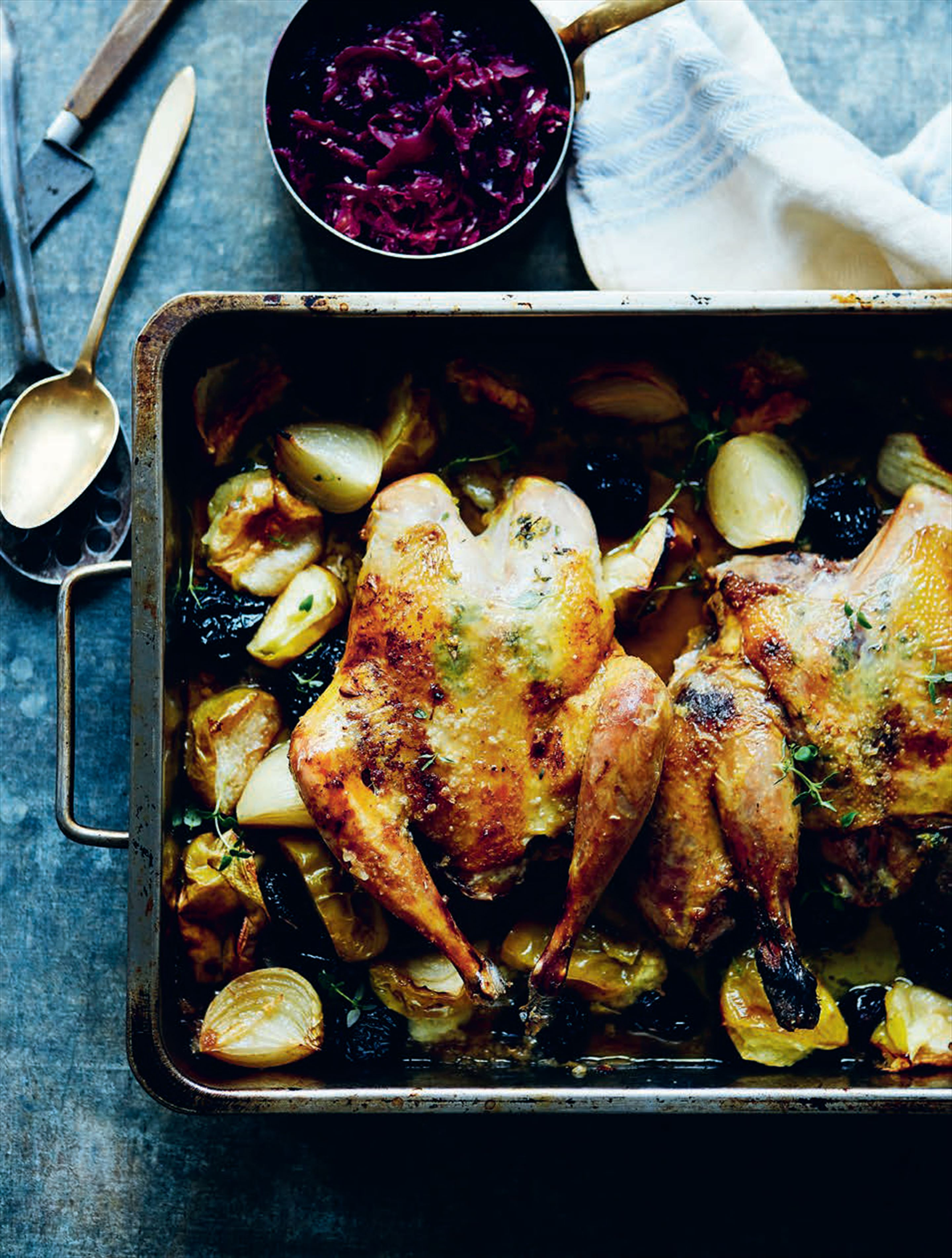 Smothered pheasant with apples, prunes & the best braised red cabbage