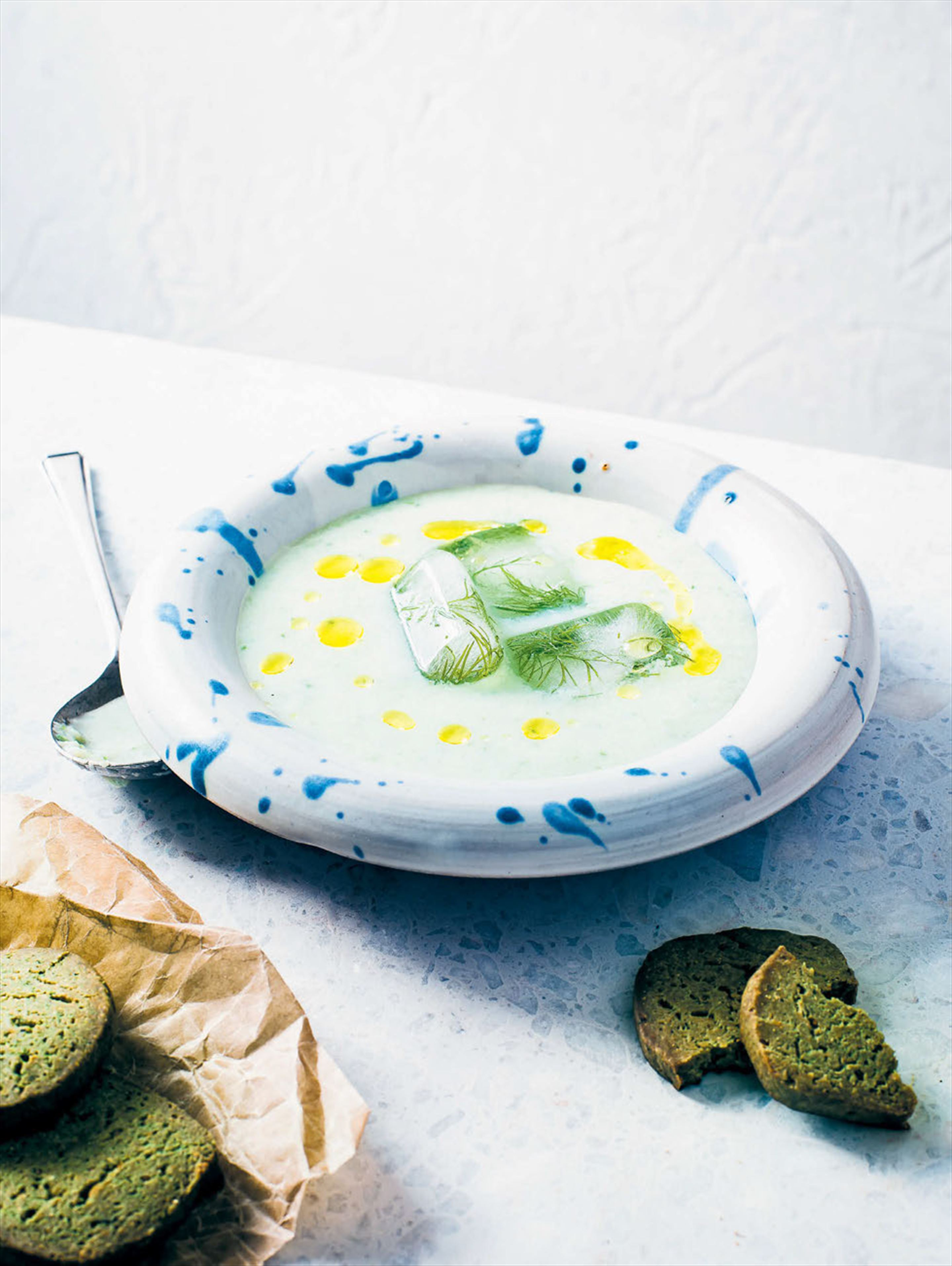 Cucumber & buttermilk soup with chickpea shortbread