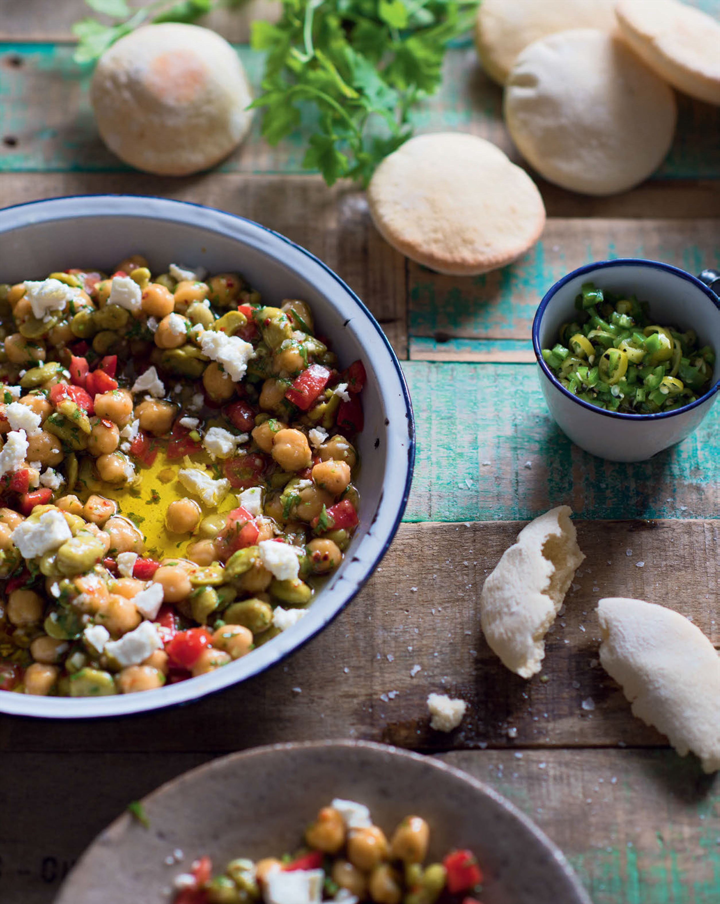 Egyptian breakfast beans with feta, lemon oil & green chilli relish