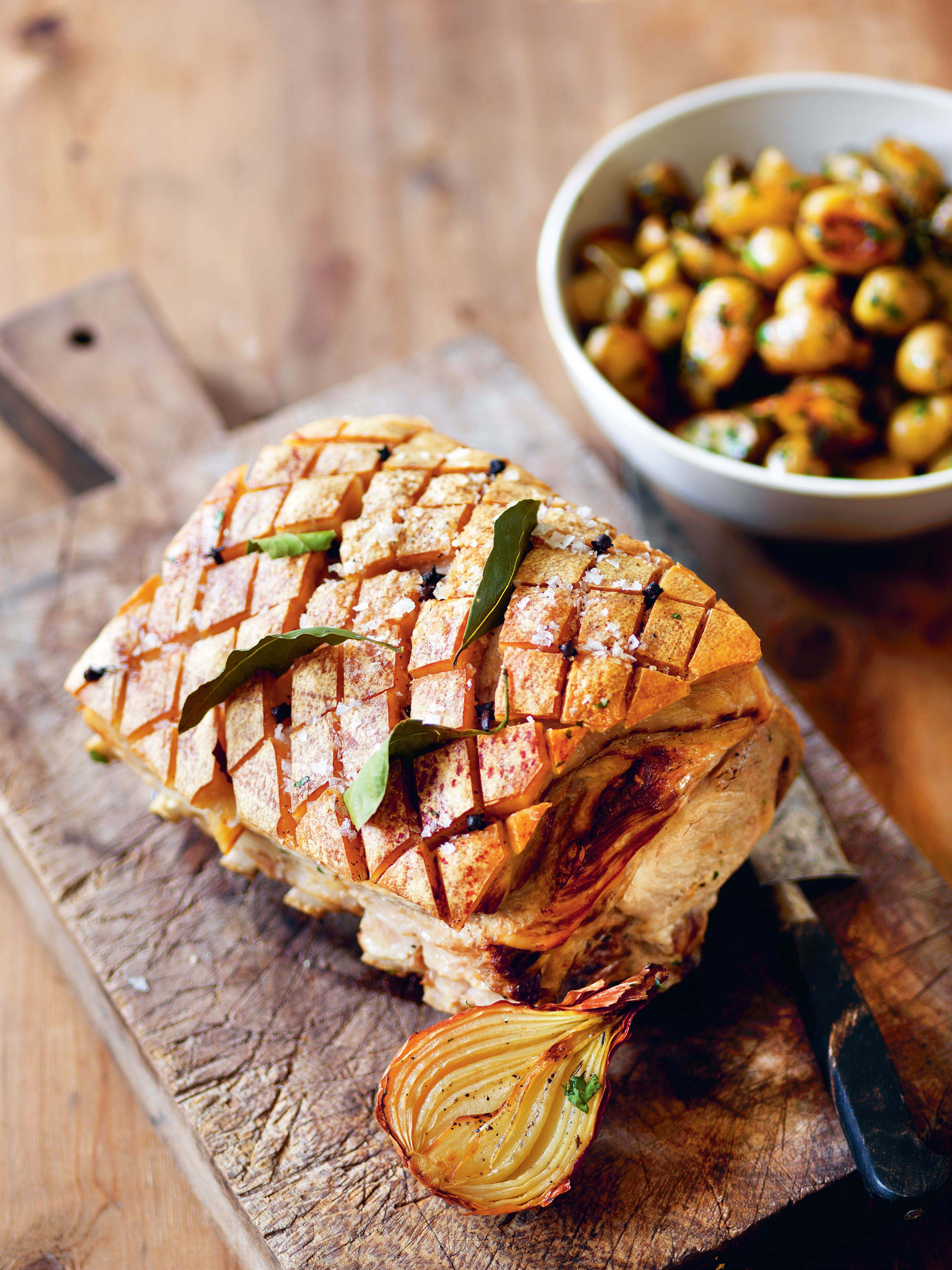 Roast pork with potatoes and apple relish
