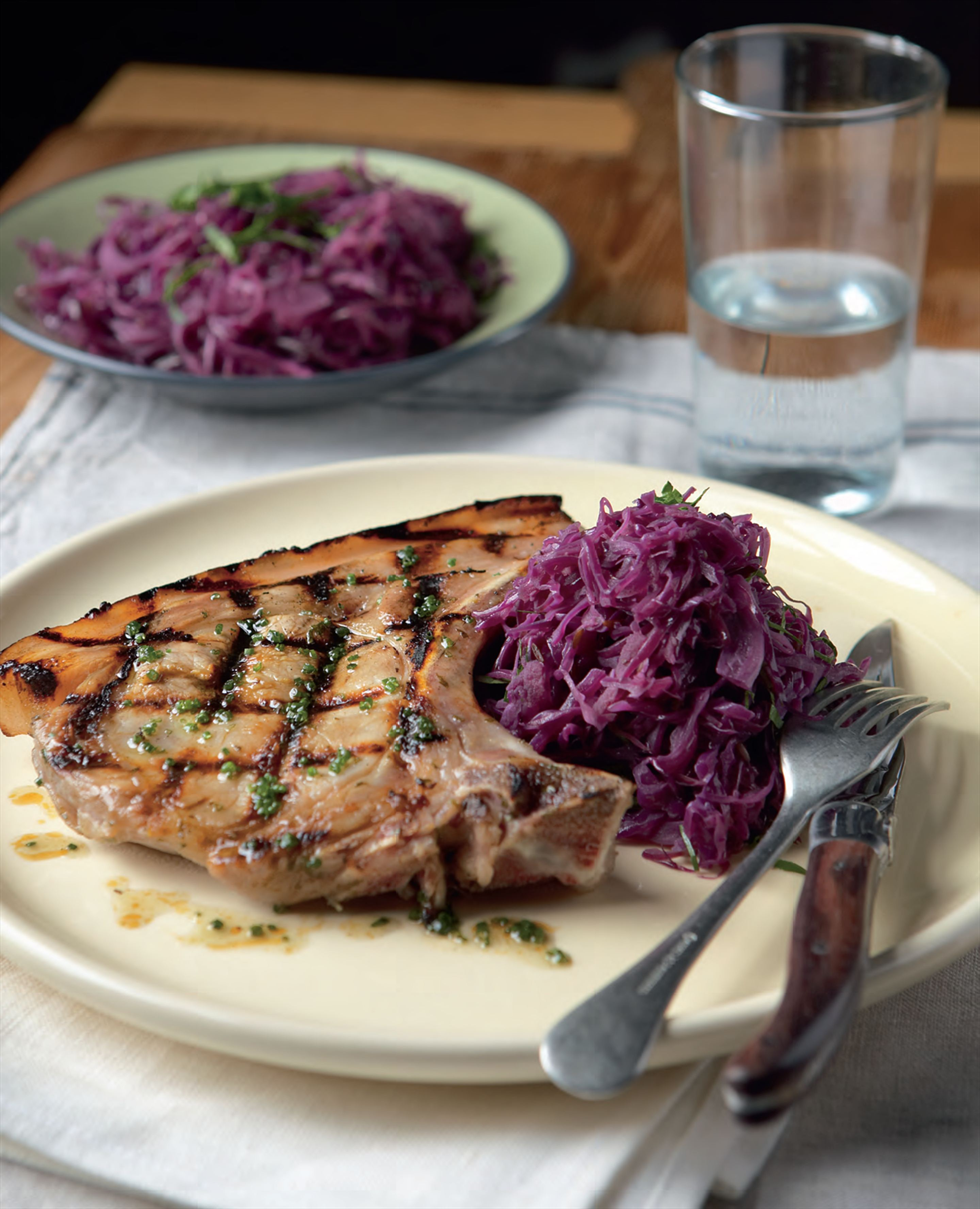 Barbecued pickled pork chop with honey and caraway