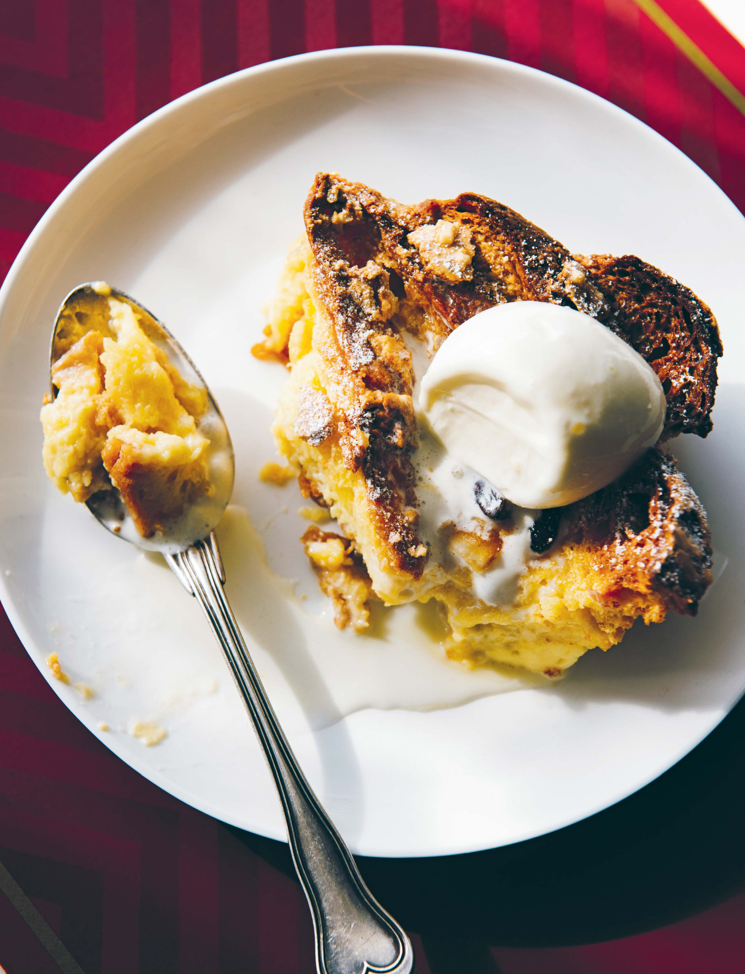 Panettone bread and butter pudding with ginger gelato