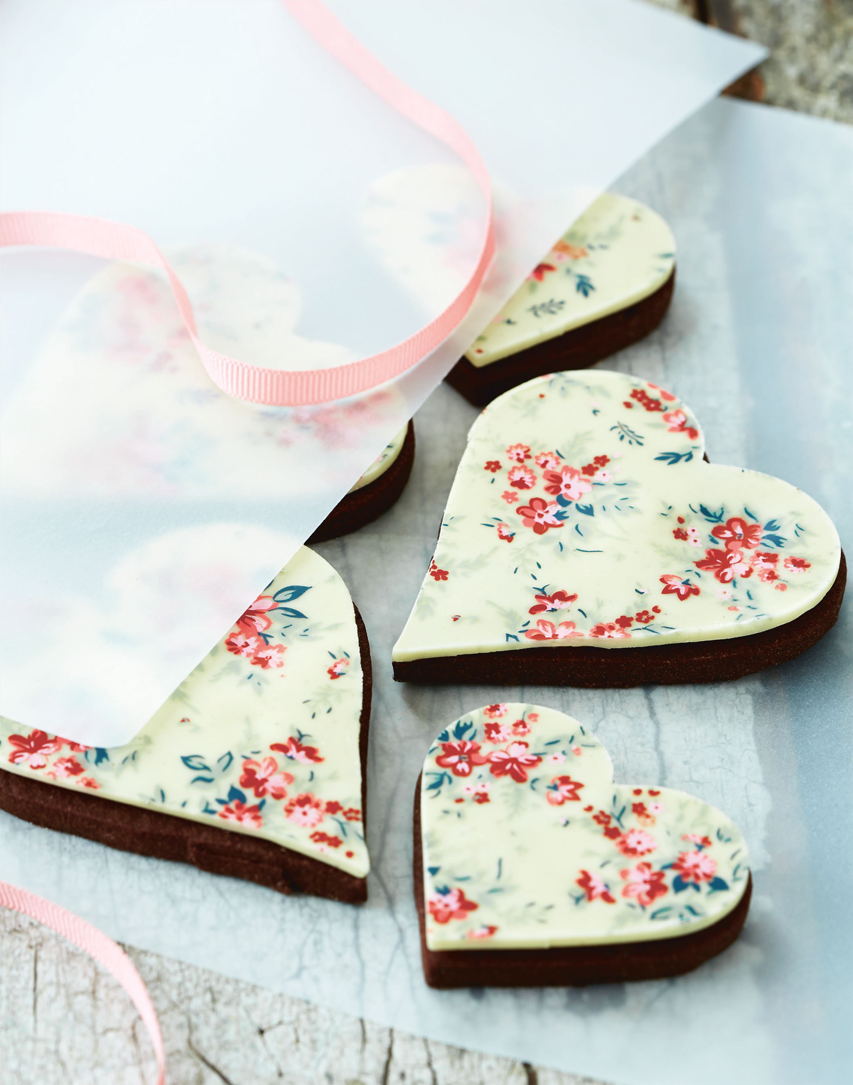 Liberty-print inspired chocolate hearts