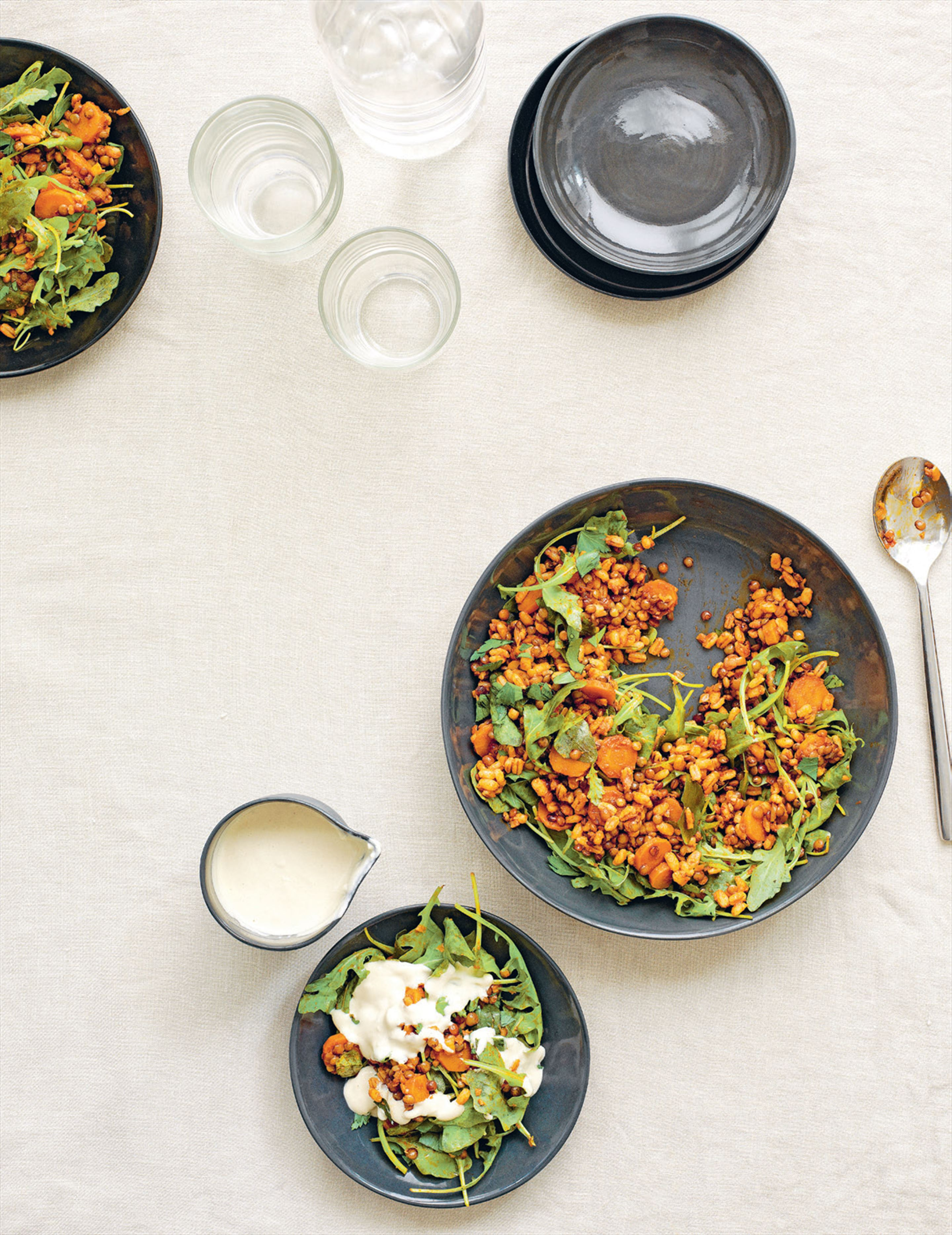 Turkish barley & lentil salad with tahini dressing