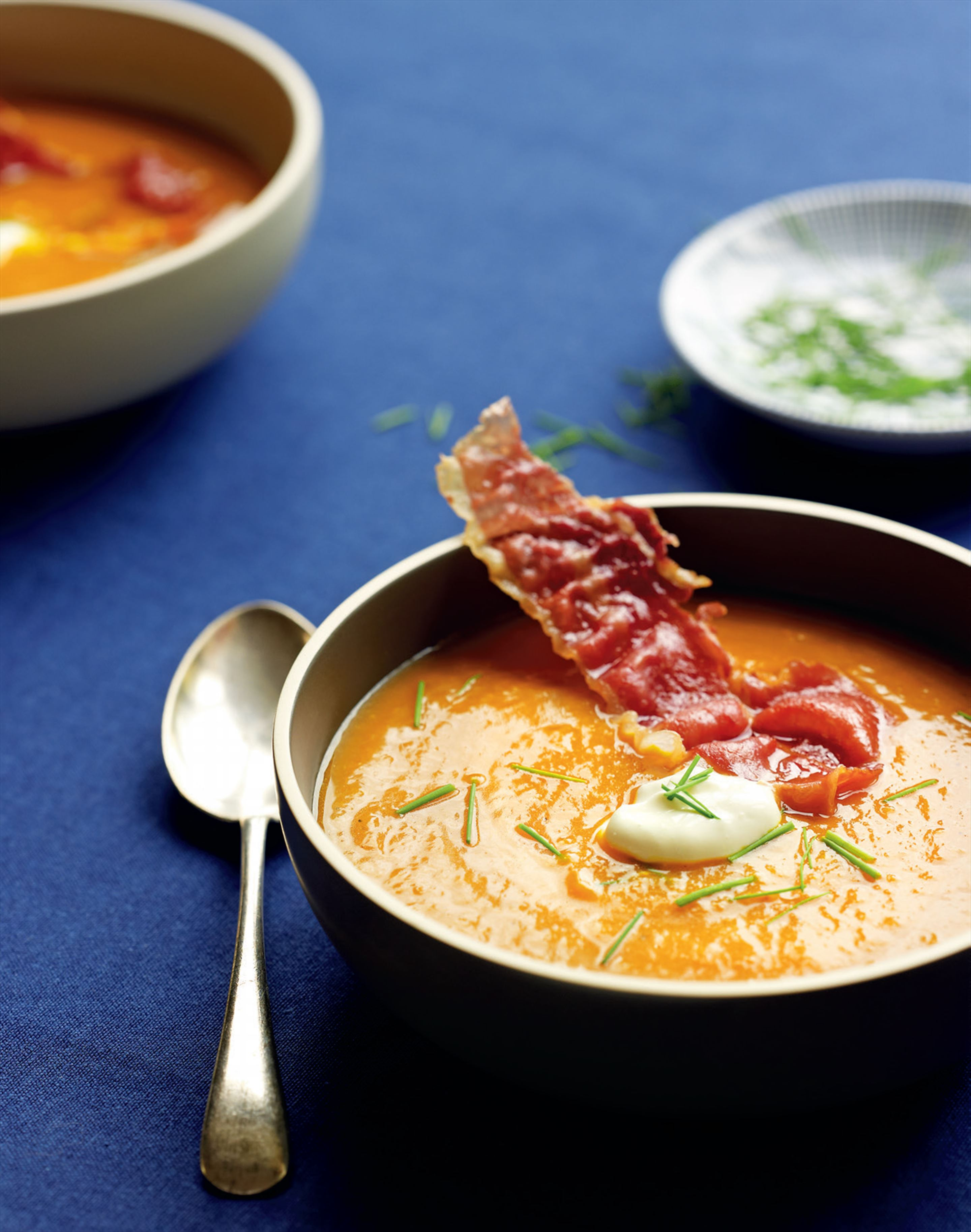 Roast pumpkin soup with crispy prosciutto