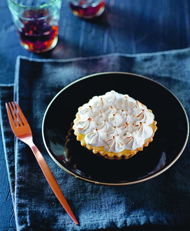 Passionfruit curd tart with burnt meringue