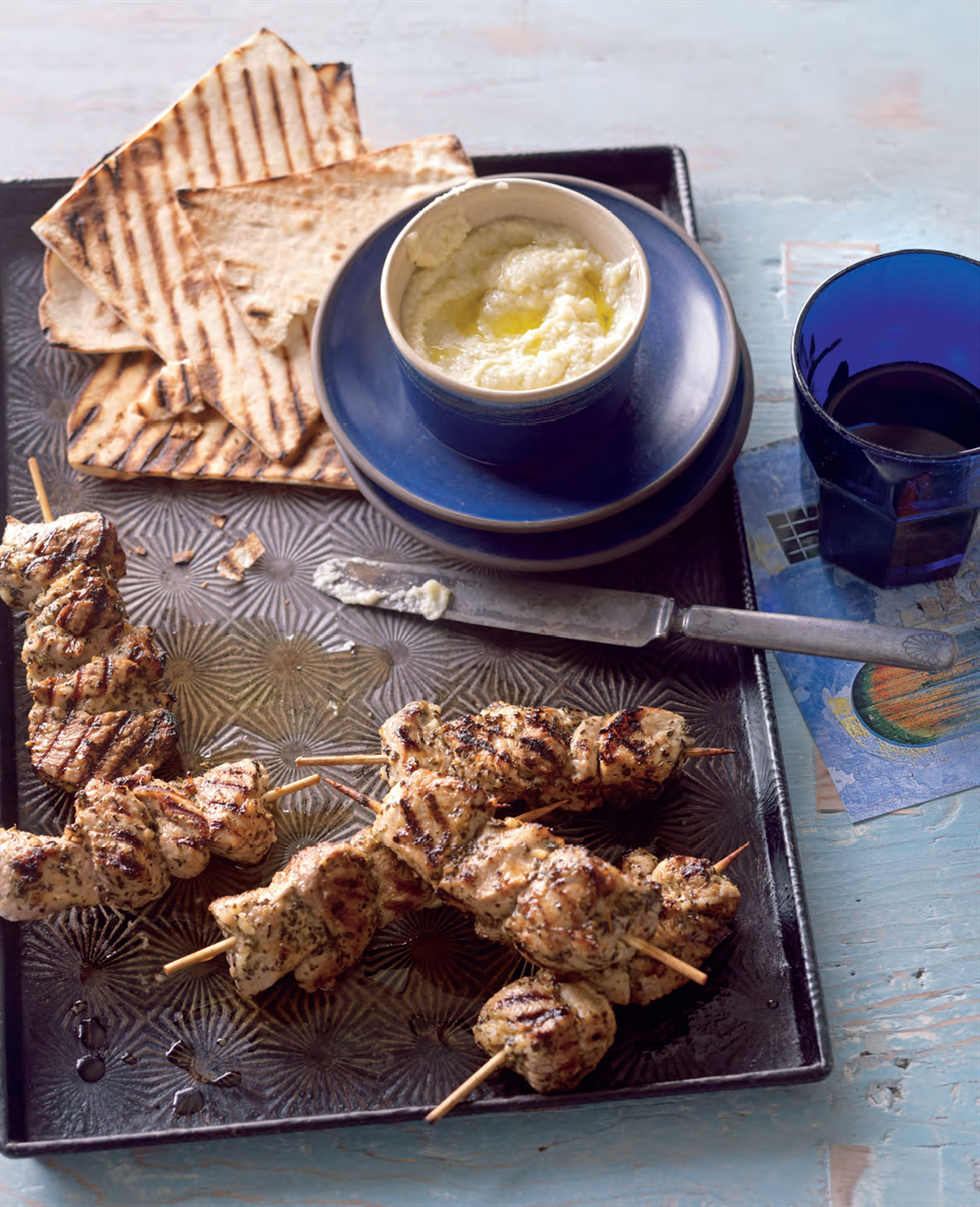Souvlaki with skordalia
