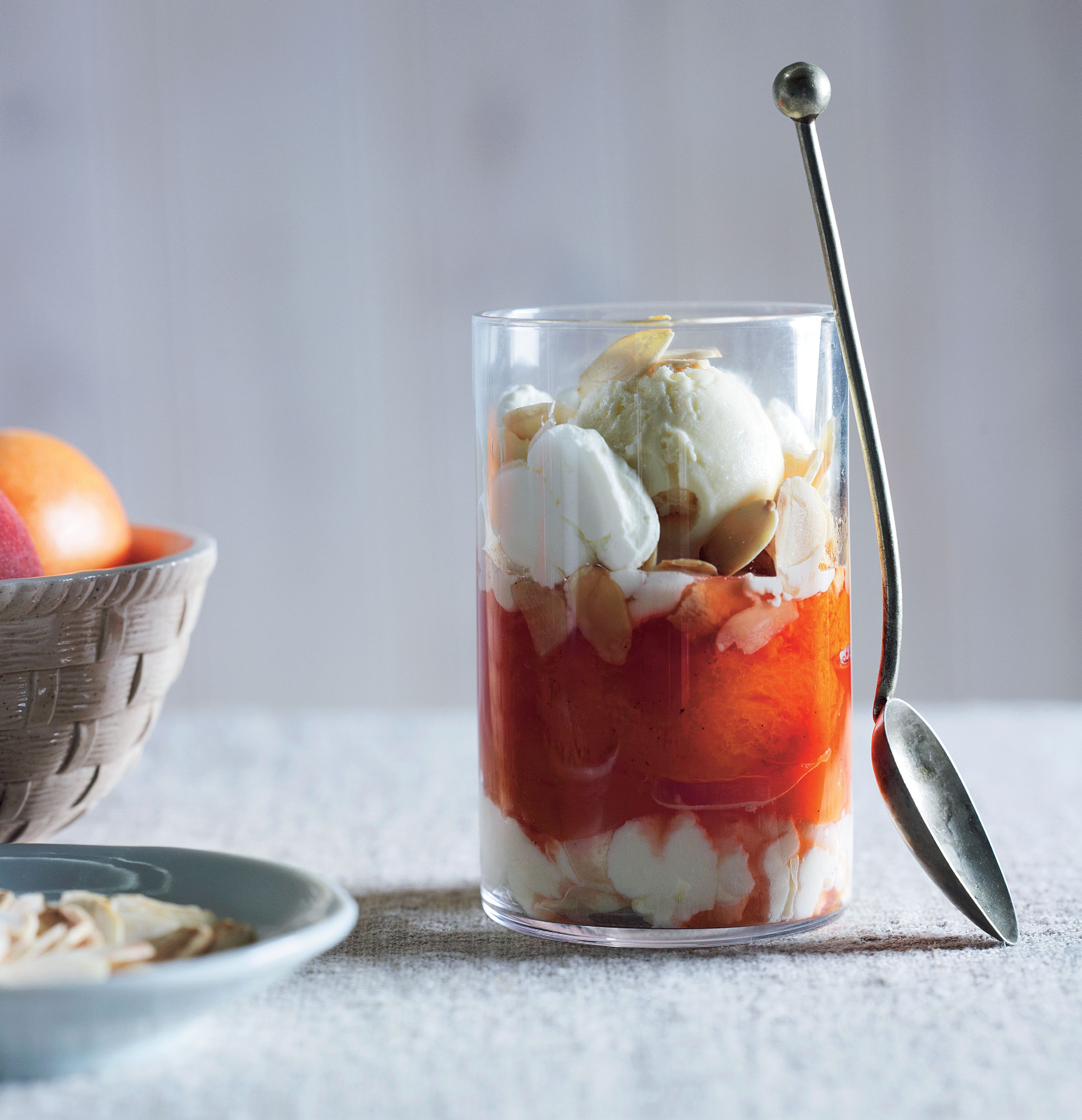Poached apricots and peaches with toasted almonds