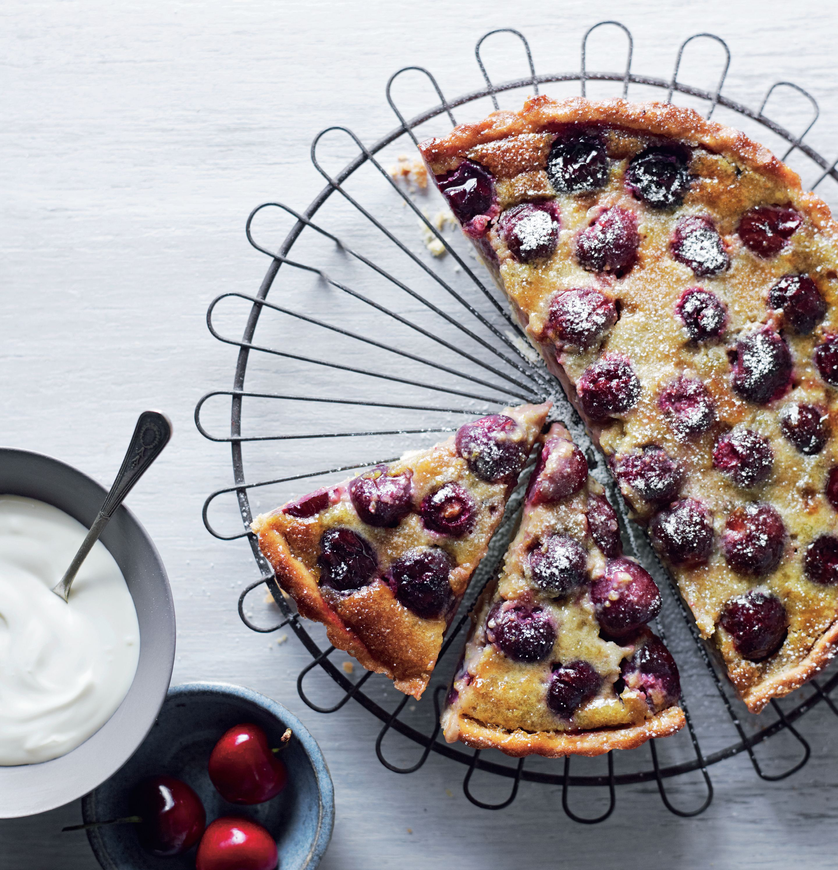 Cherry and pistachio tart