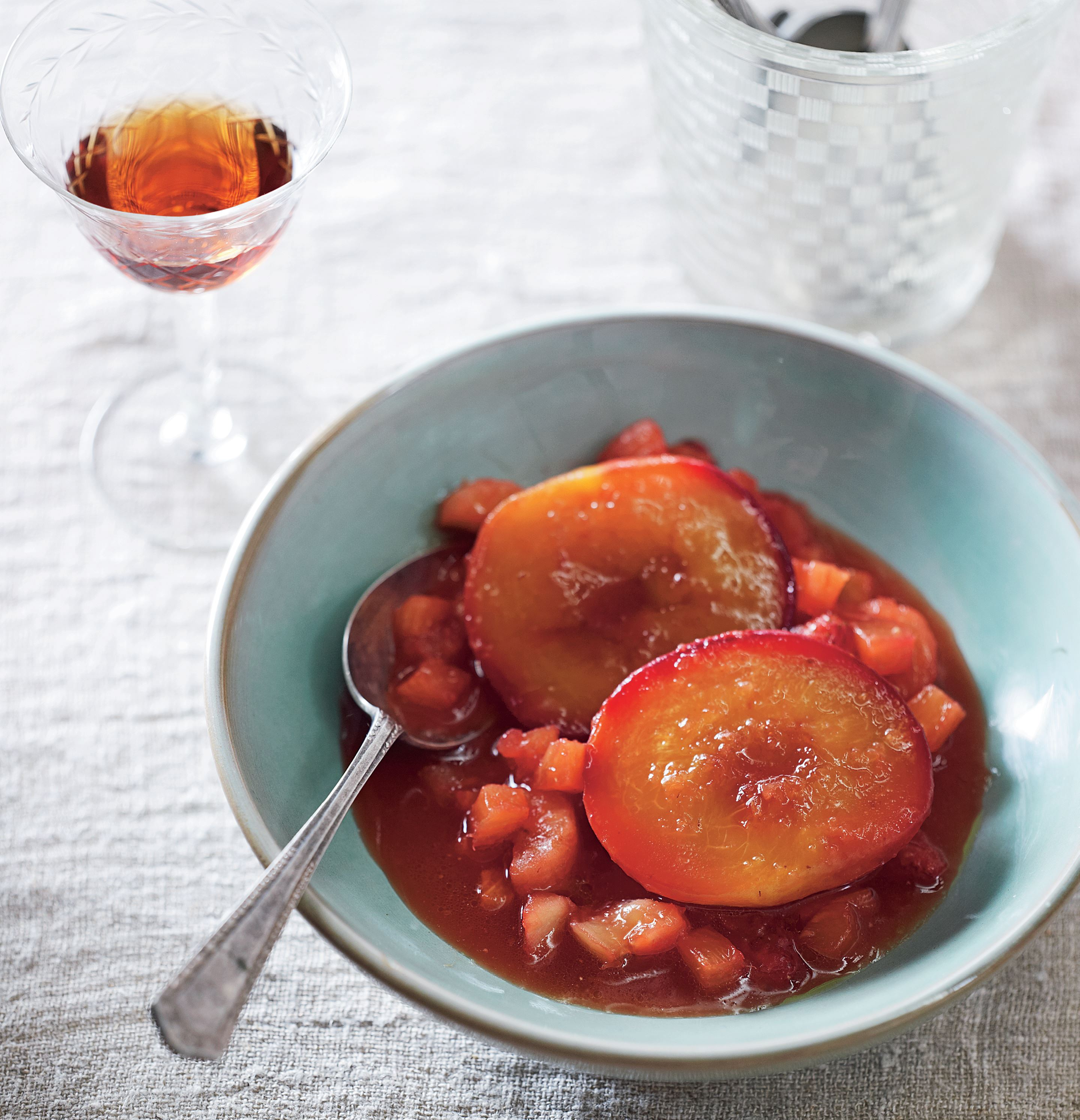 Roast peaches with fruit salsa