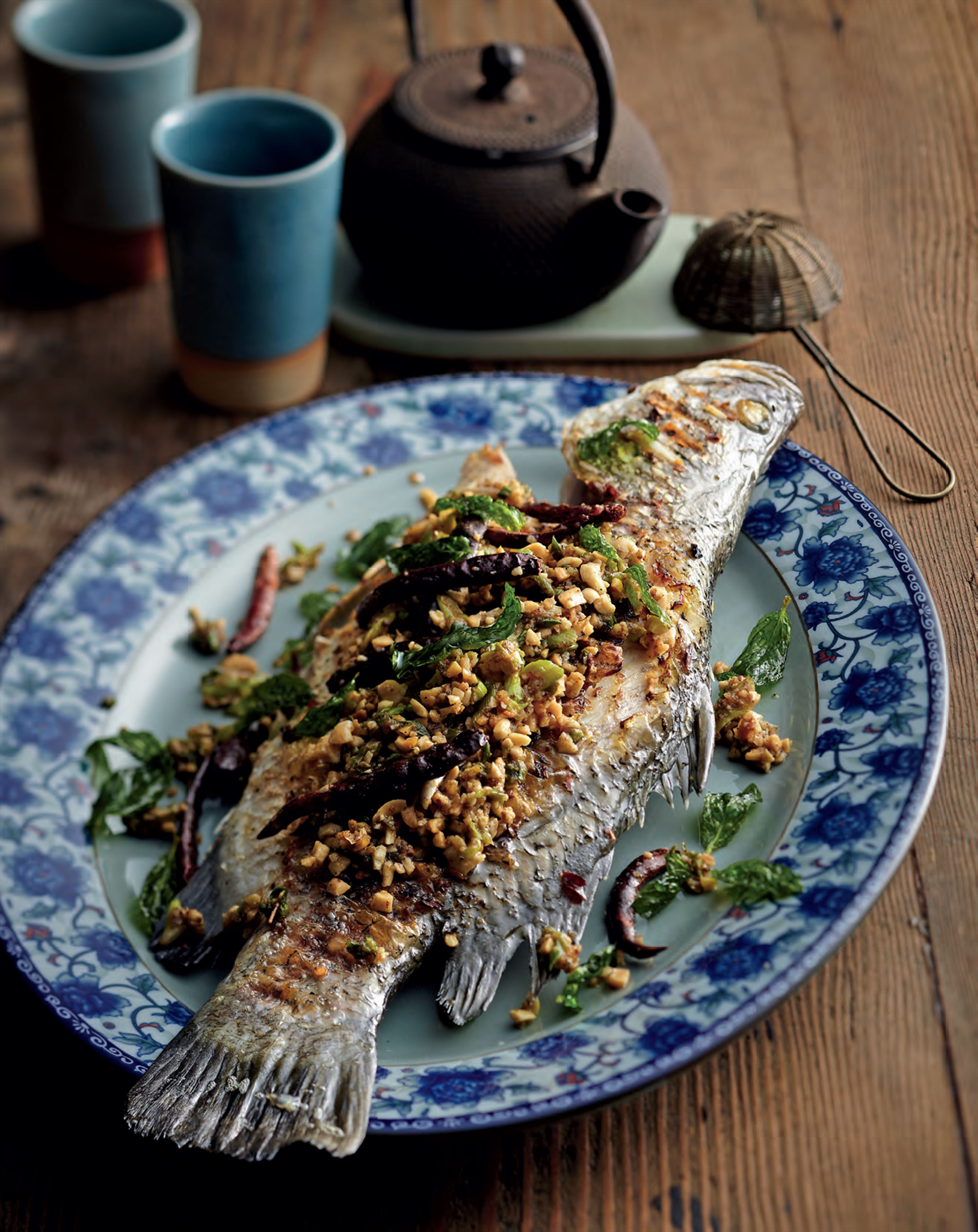 Chargrilled fish with crisp mint
