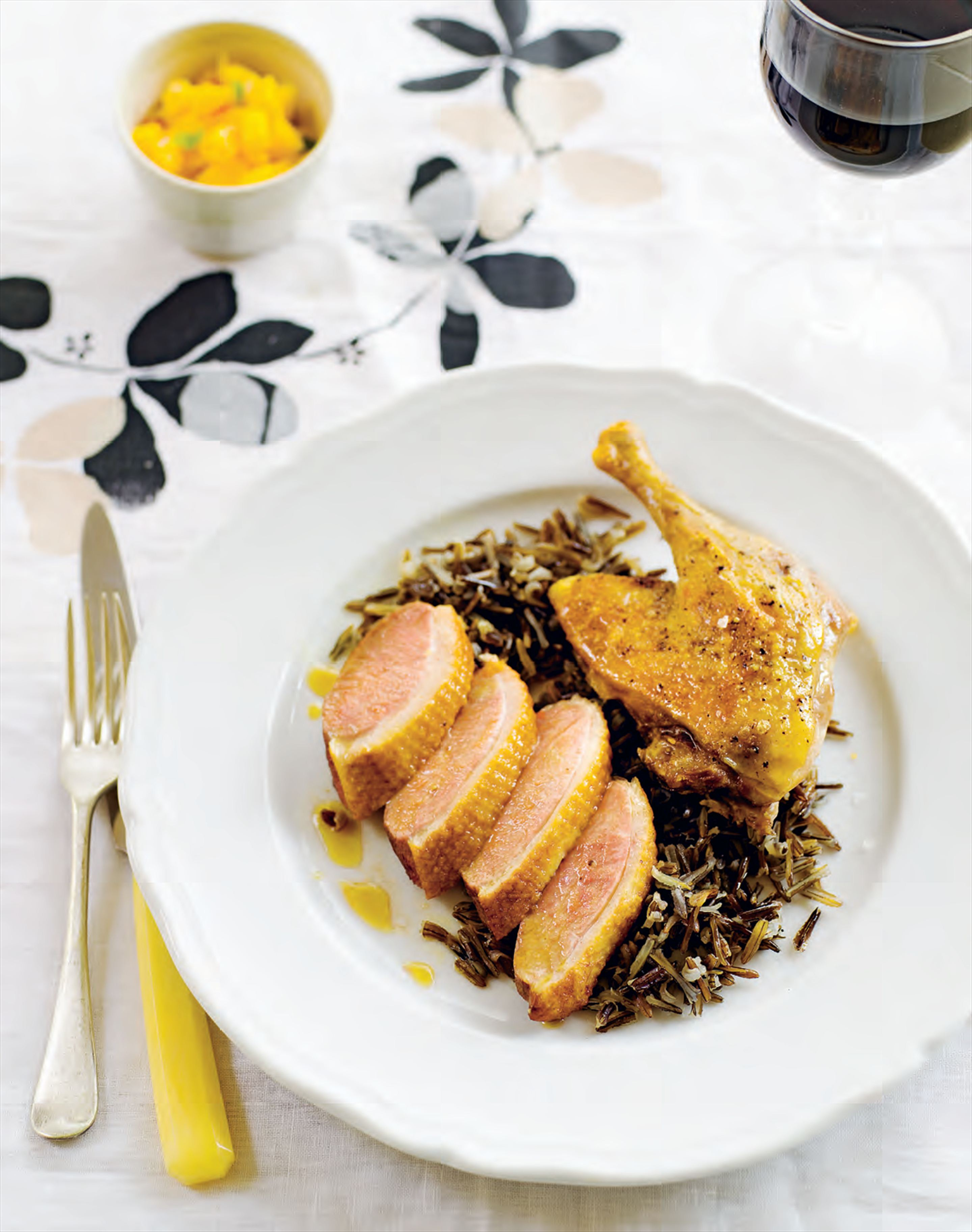 Roast duck with wild rice and mango–chilli salsa