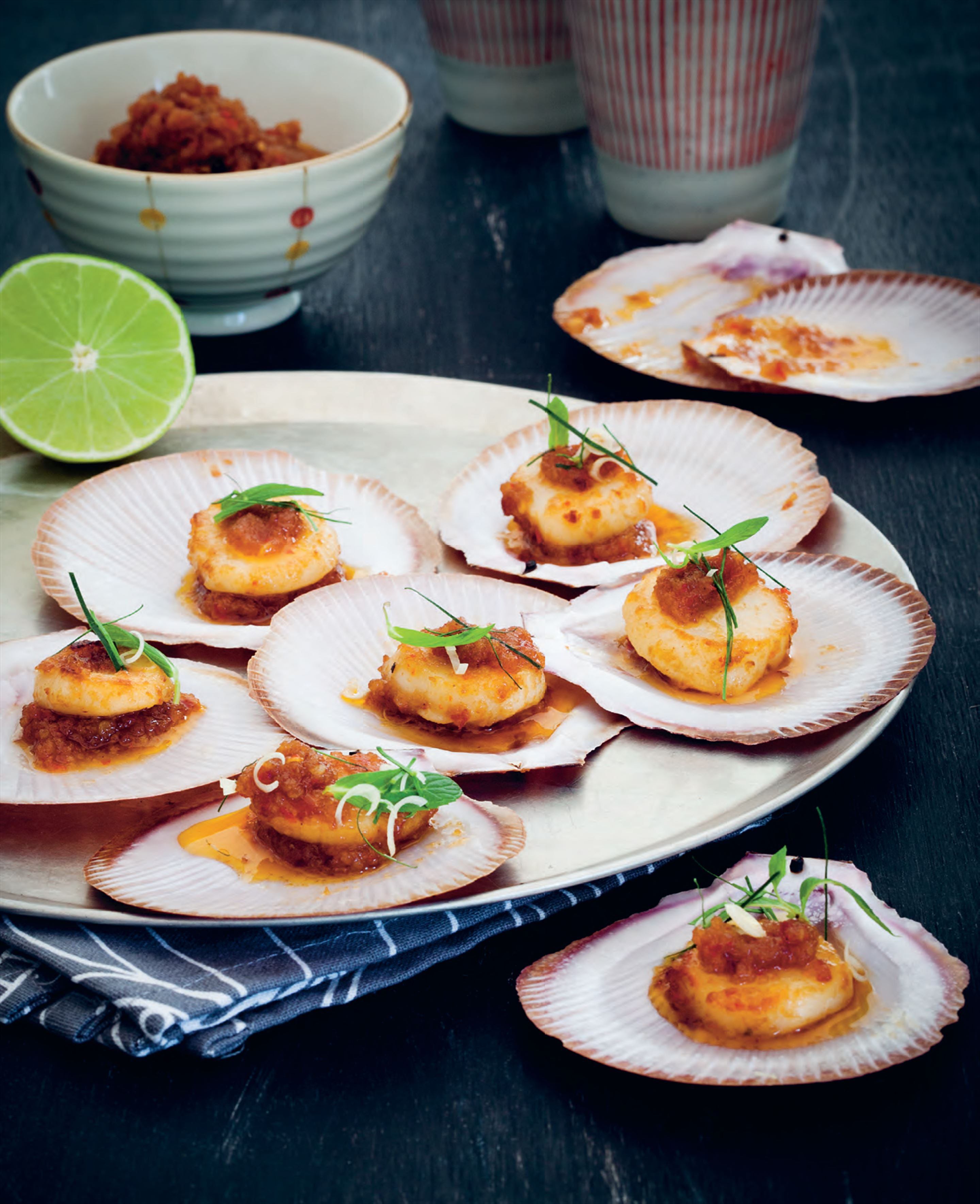 Scallops with sweet chilli jam