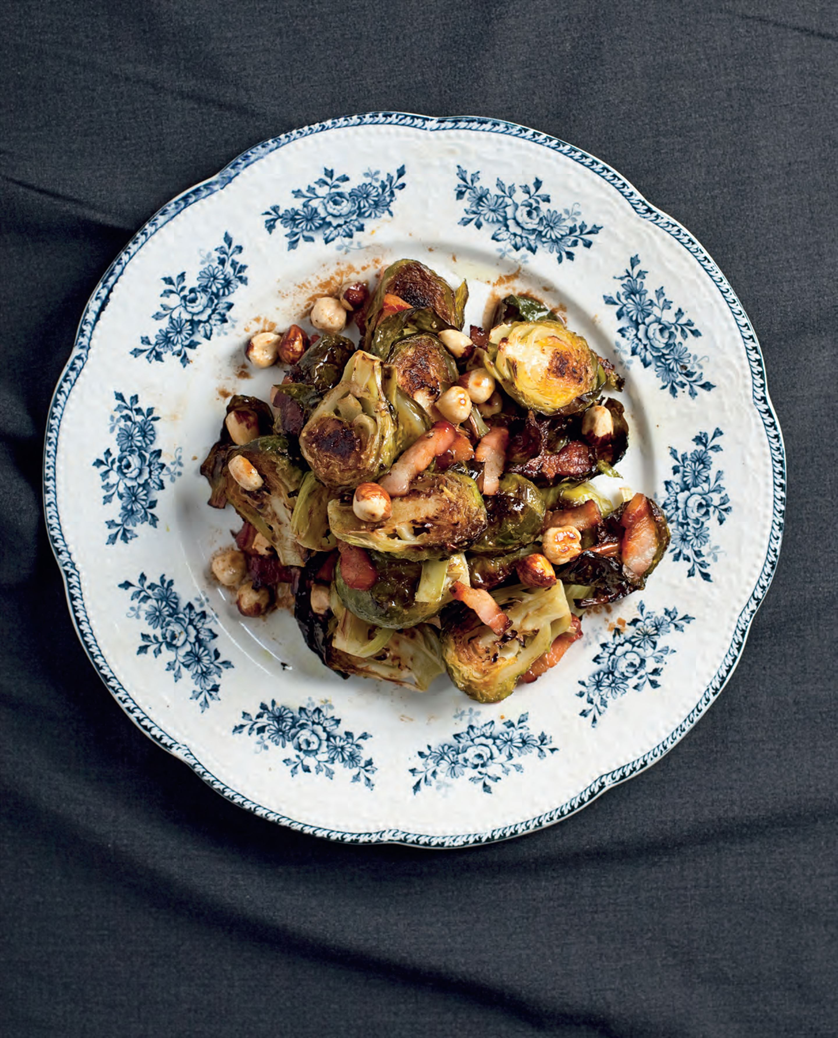 Brussels sprouts, speck and hazelnuts with mustard dressing