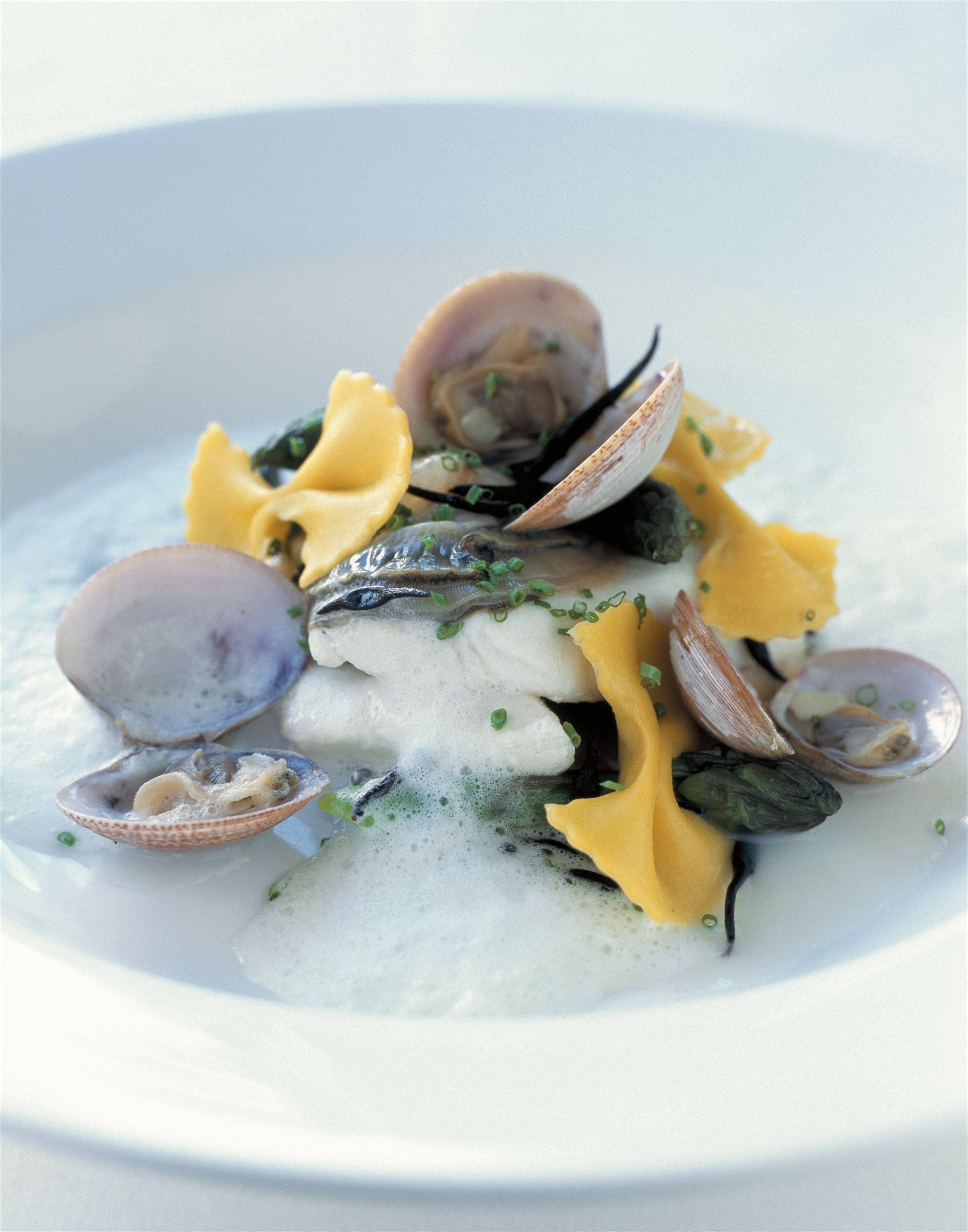 Civet of john dory, clams and angasi oysters