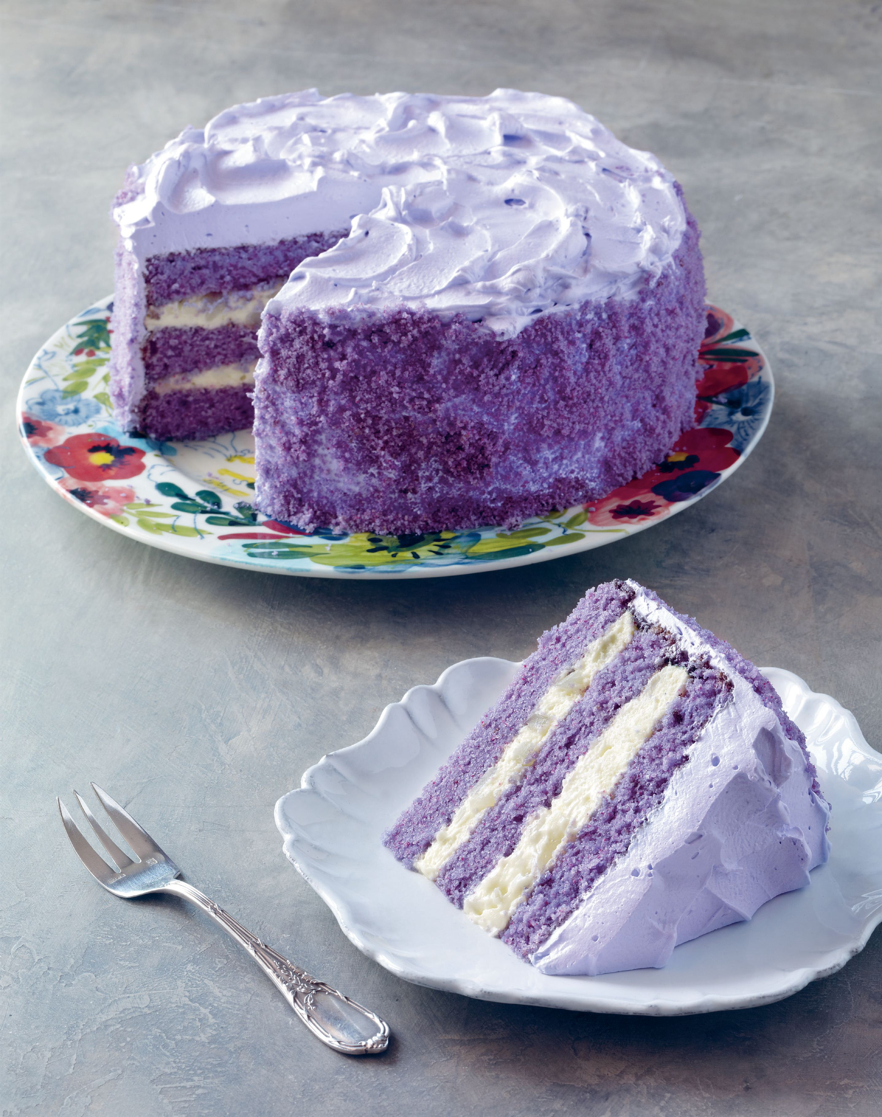 Purple yam and sweet coconut cake
