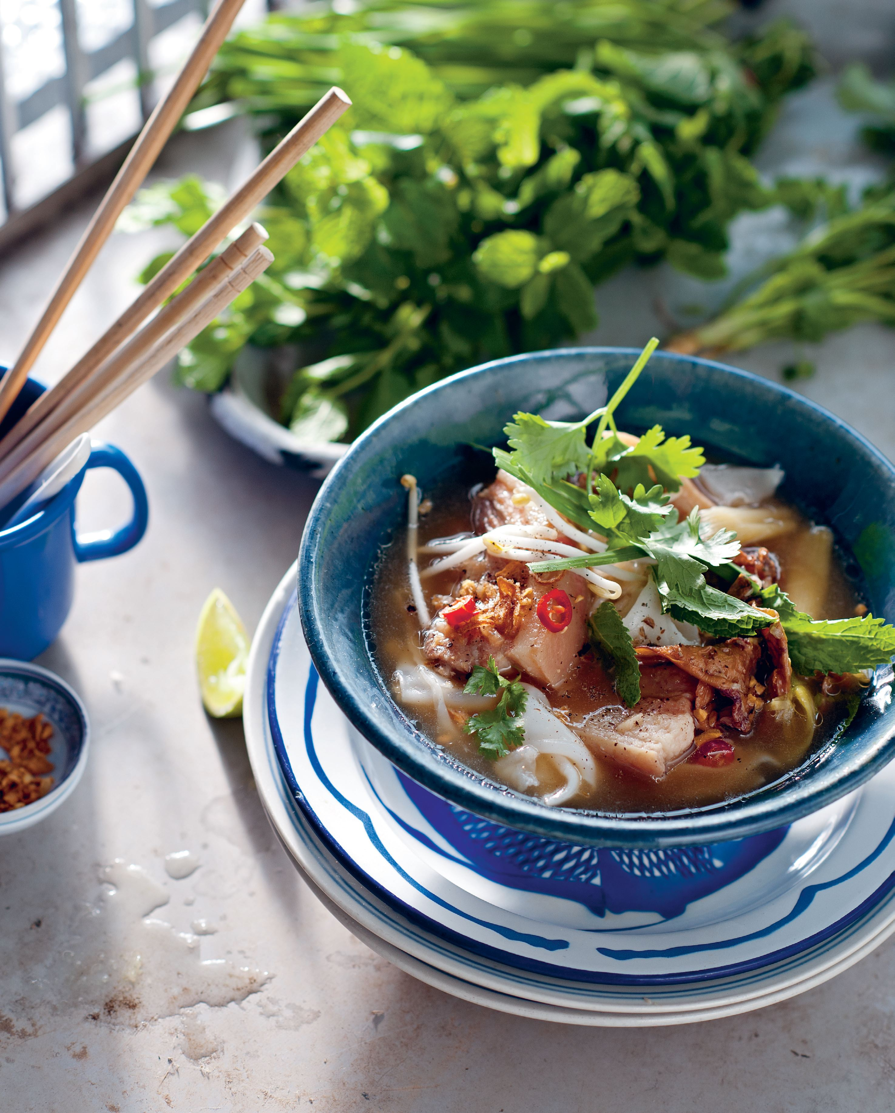 Pork rib broth with soft rice noodles
