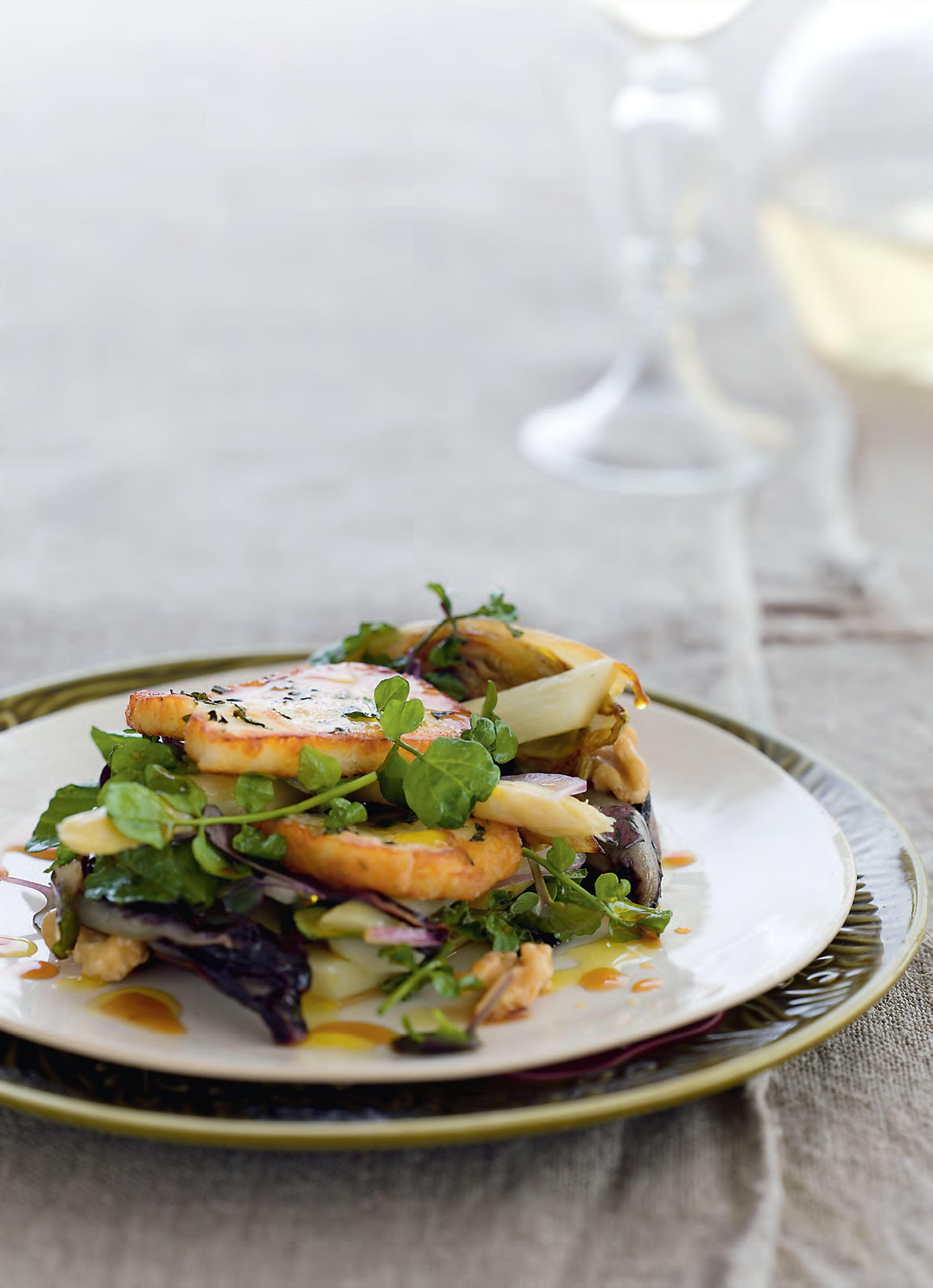 Asparagus with grilled haloumi and honey-seared endive