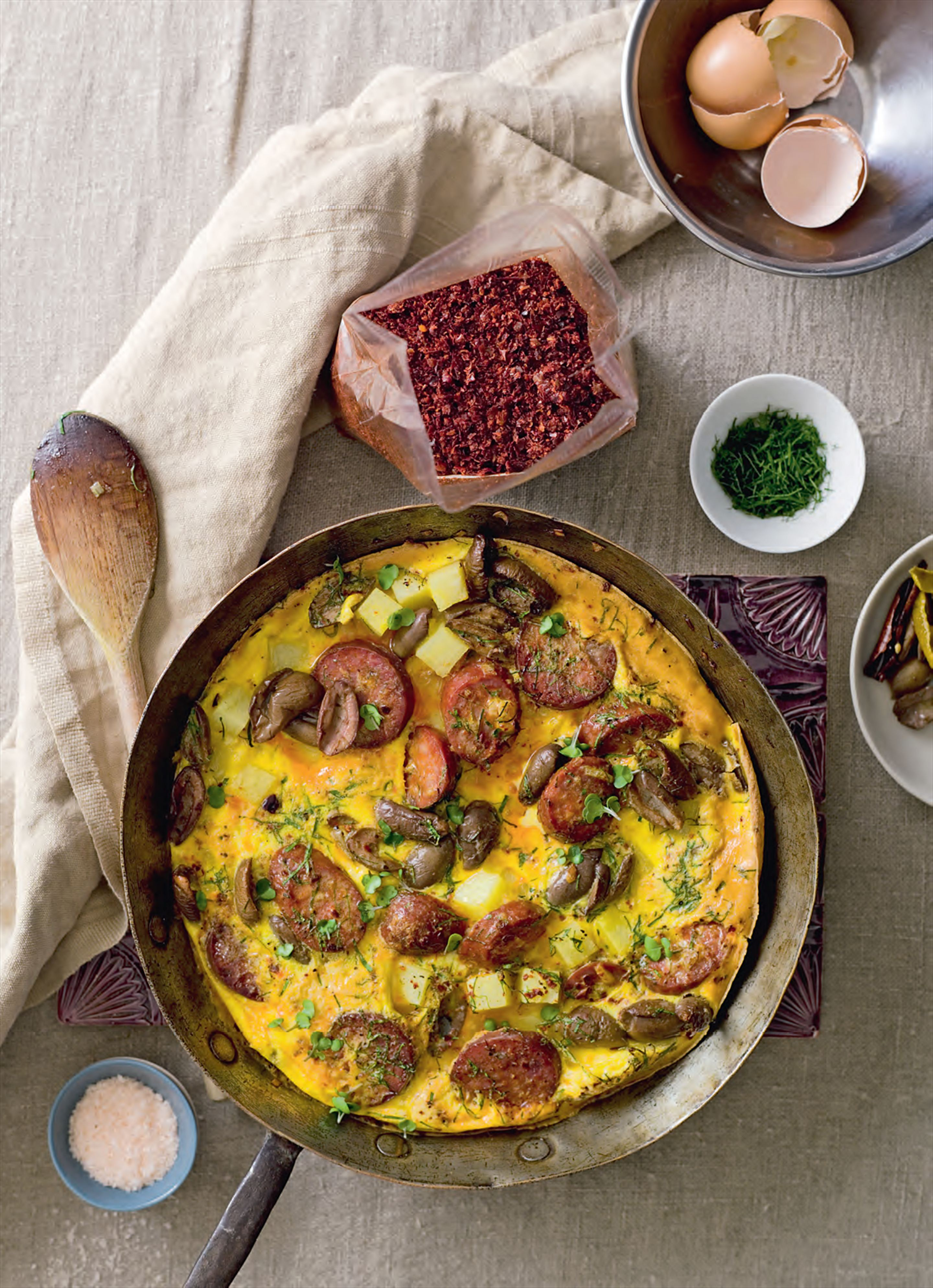 Spanish omelette with potato, green olives and chorizo