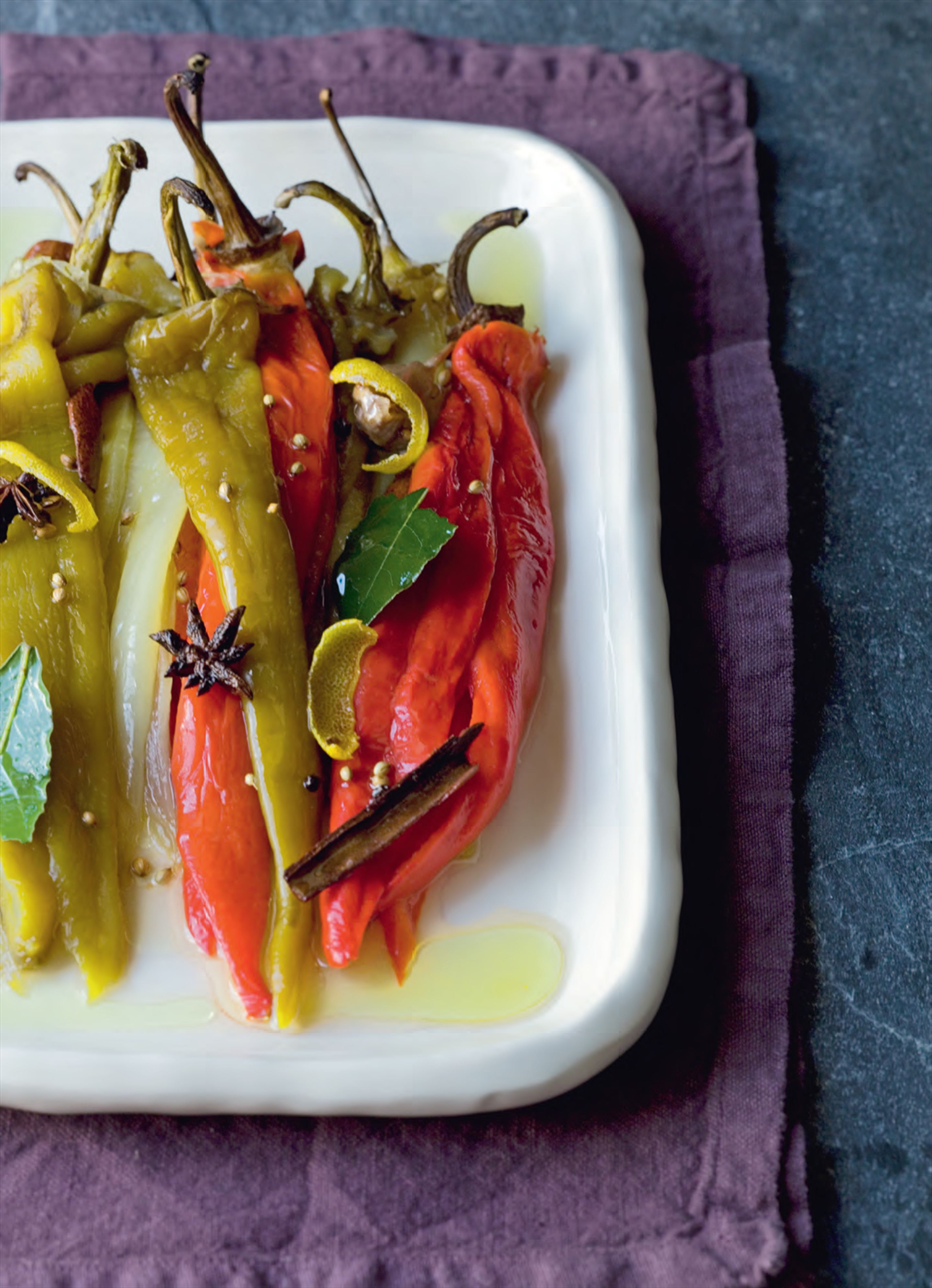 Hungarian peppers cooked in lemon oil
