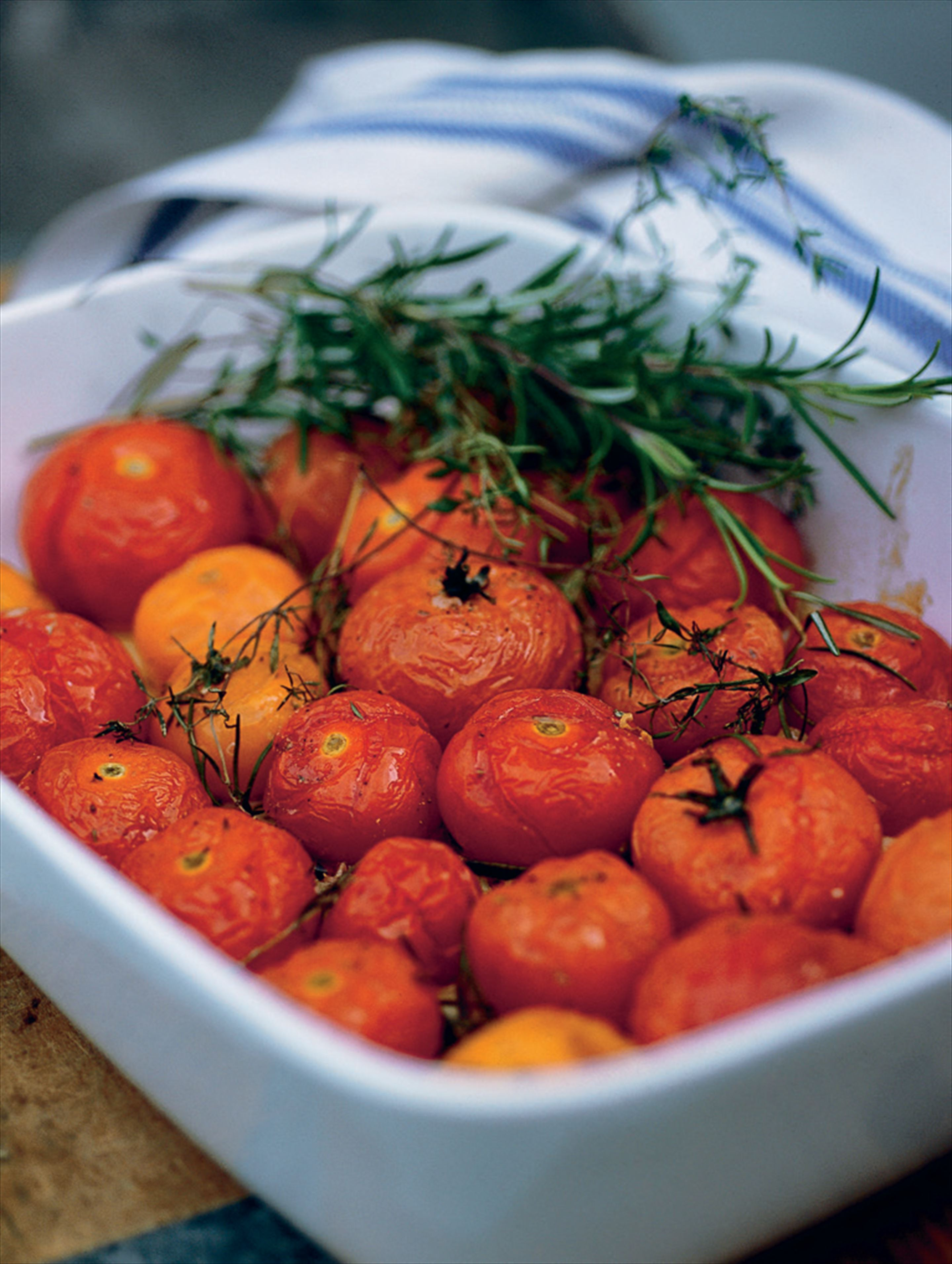 Slow-roasted cherry tomatoes with herbs