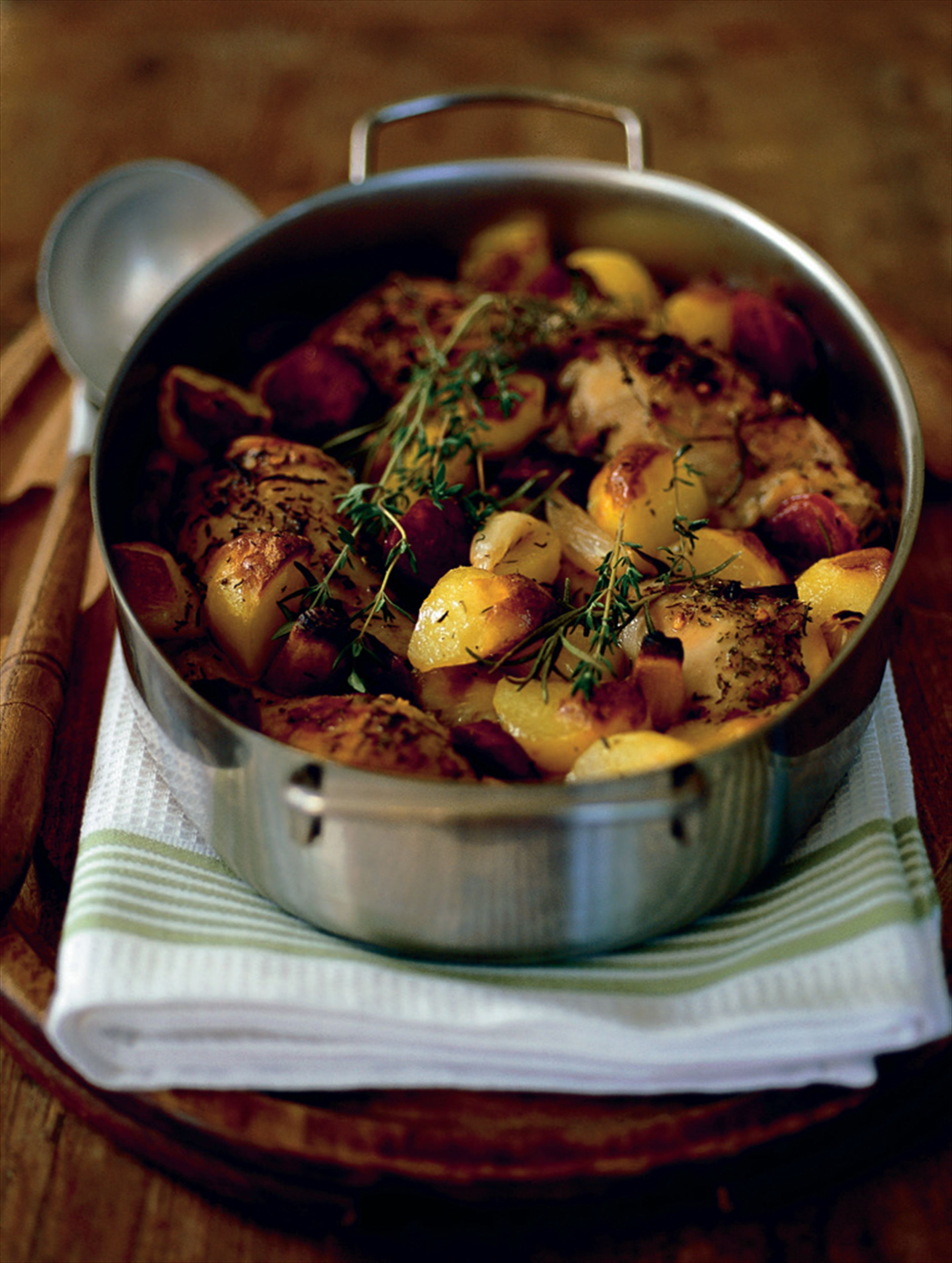 Roast chicken with chorizo