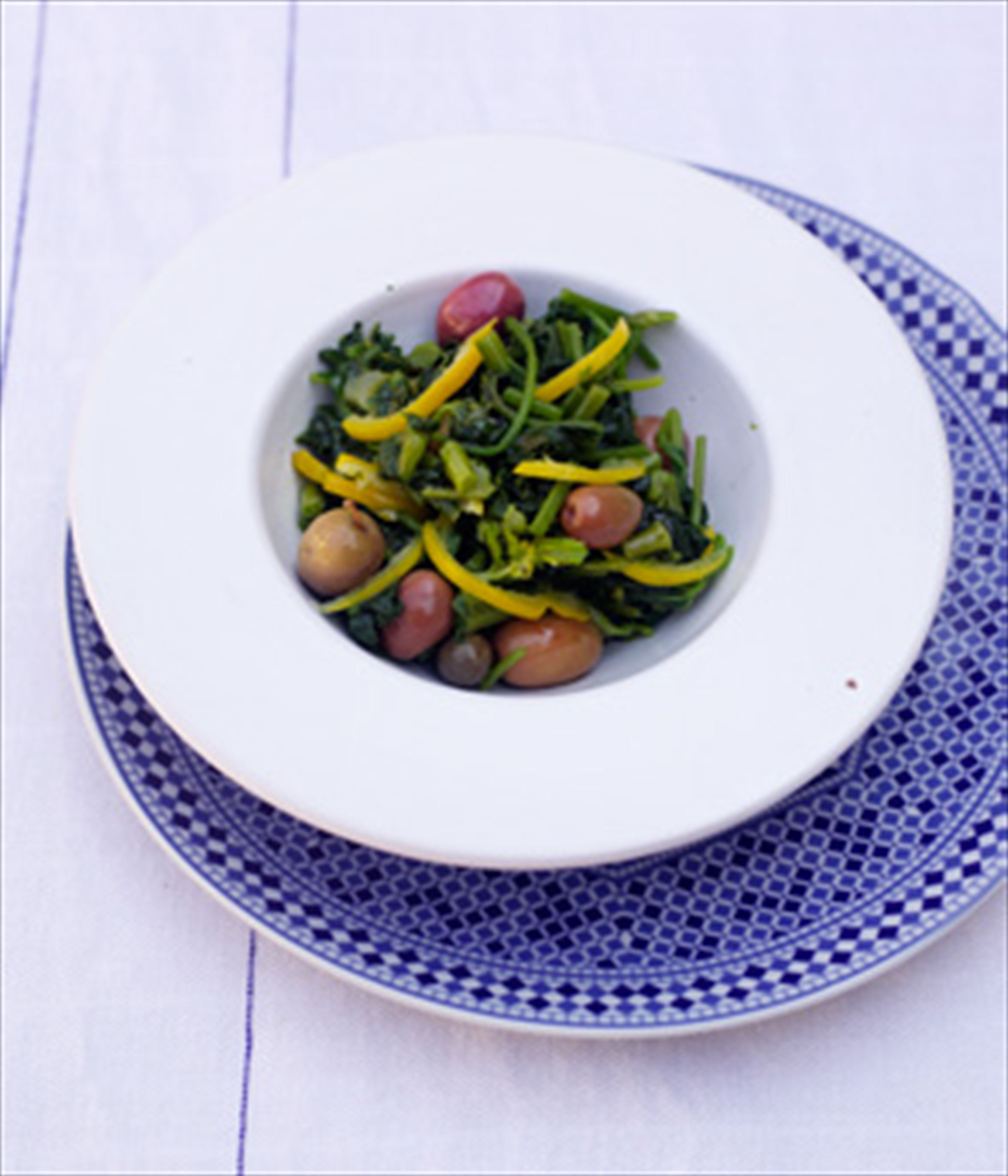 Mallow, preserved lemon & olive salad