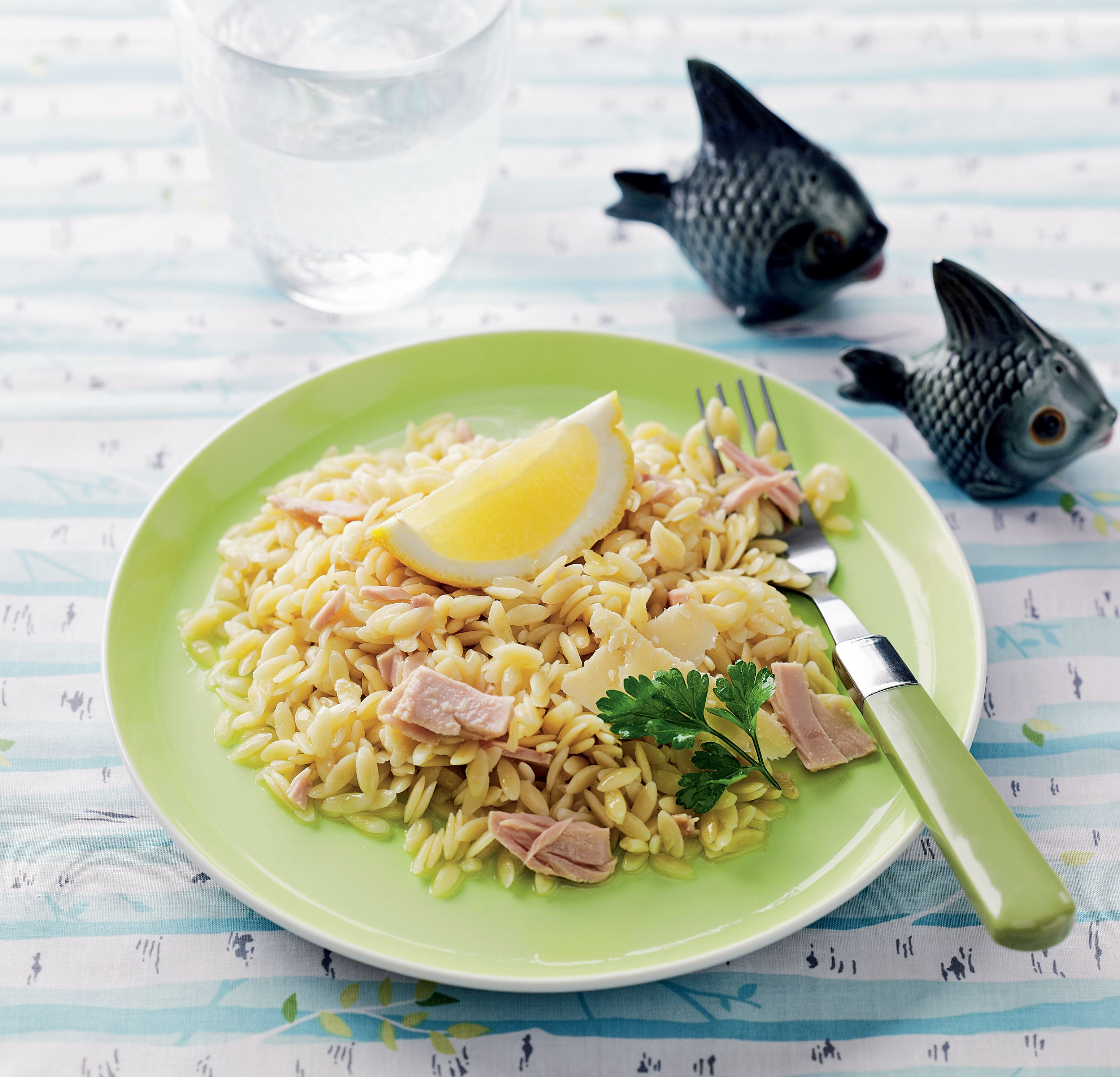 Lemon and tuna orzo
