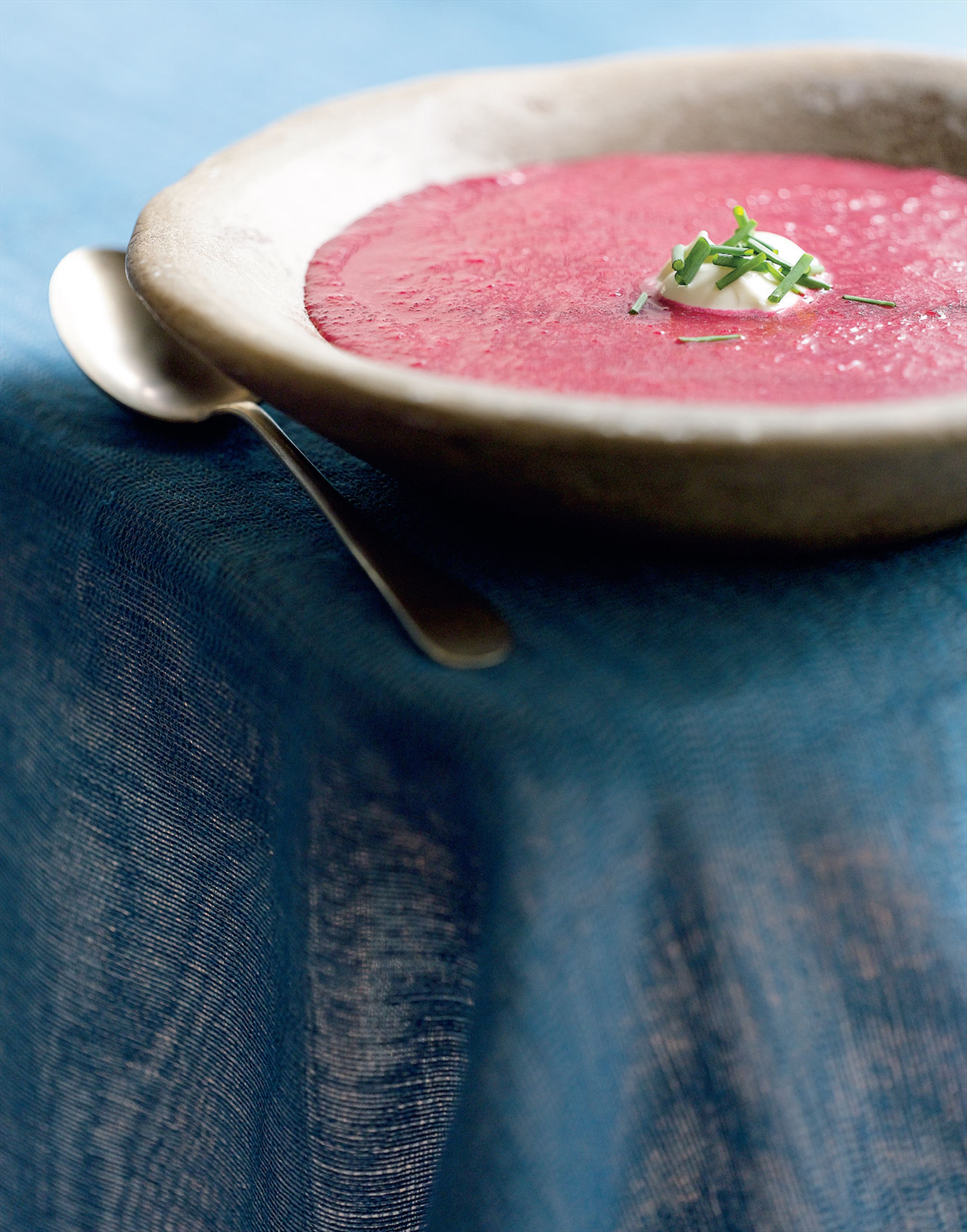 Roasted beetroot soup with a dollop of yoghurt