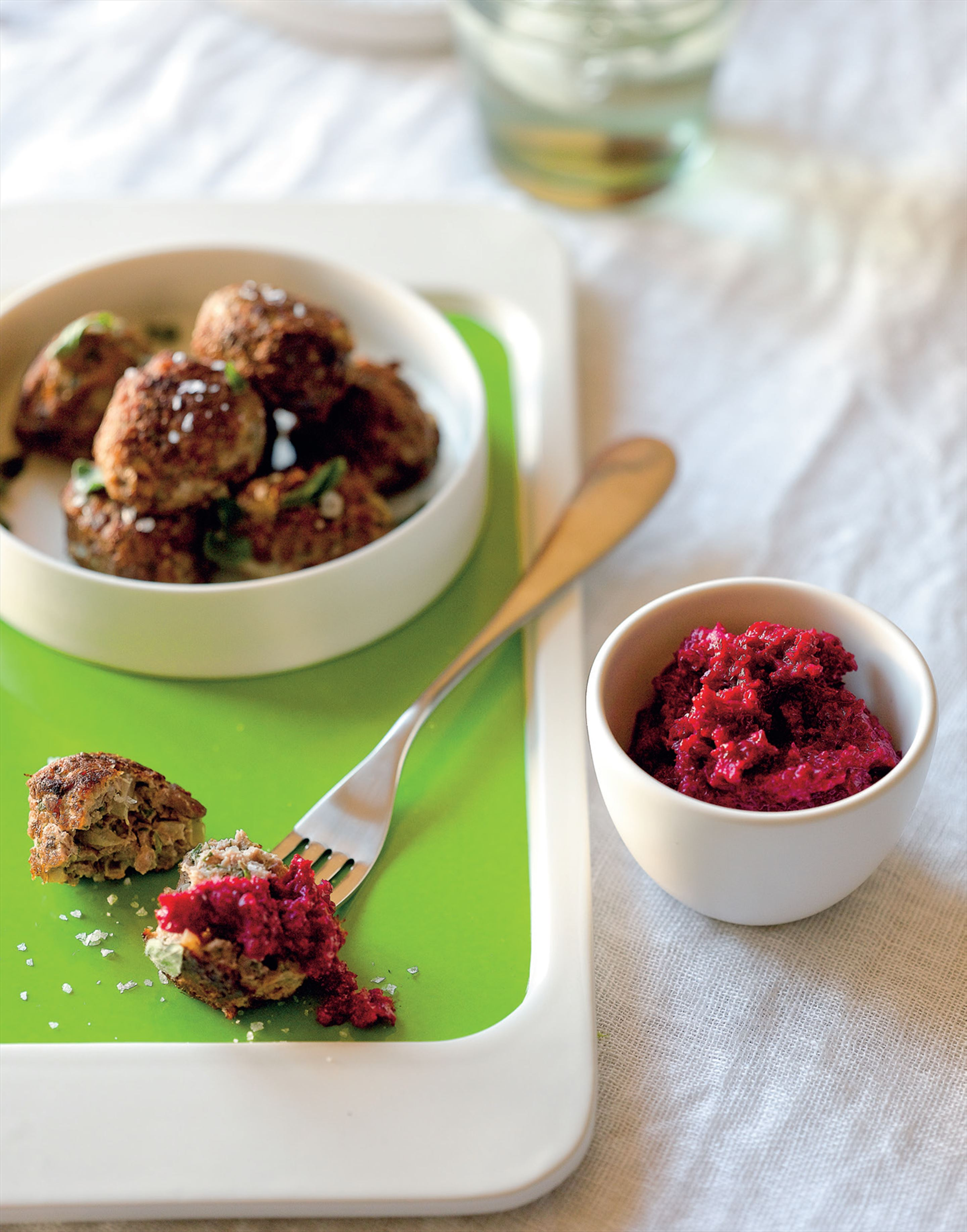 Greek meatballs with beetroot tzatziki
