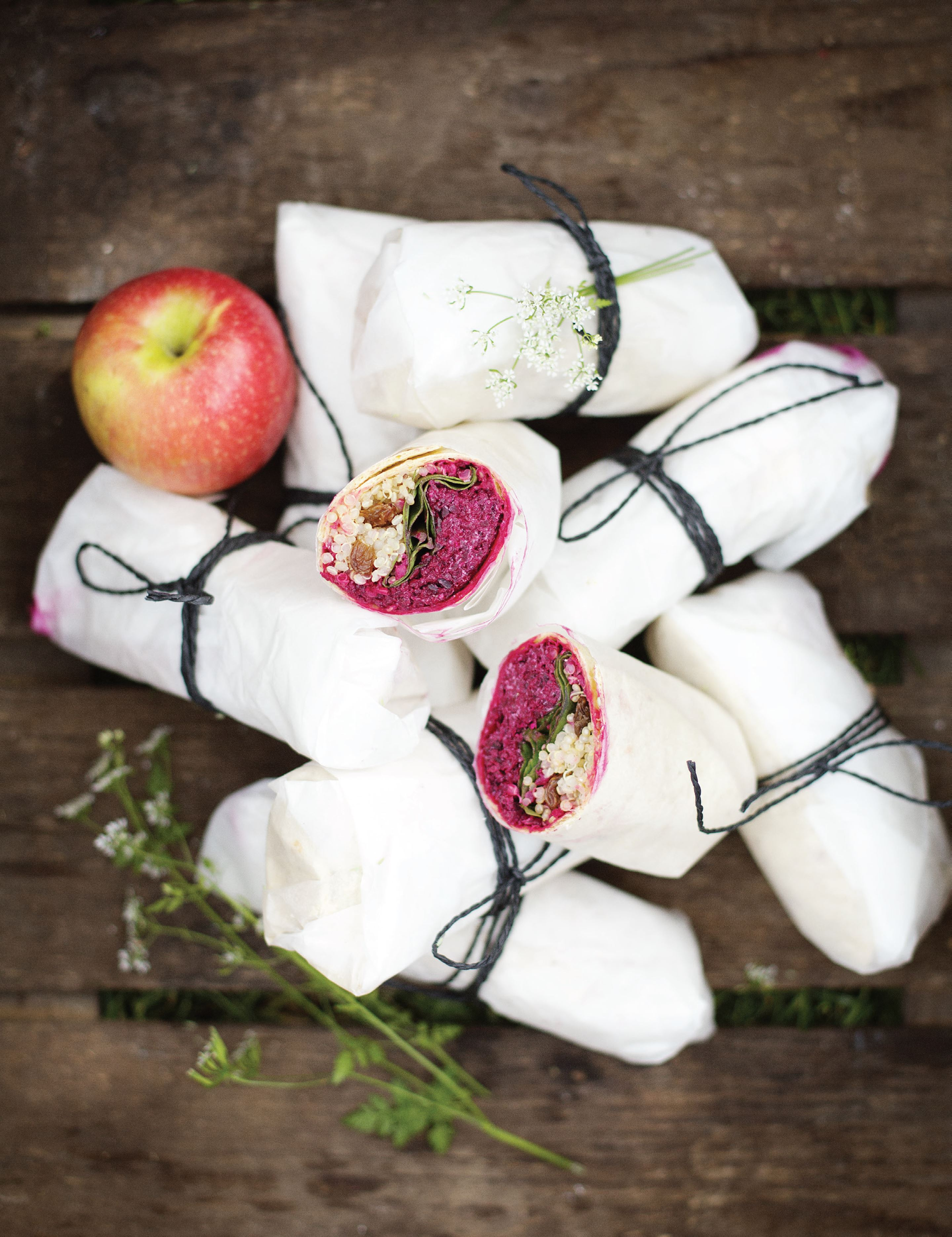 Beetroot, apple and goat's cheese wraps