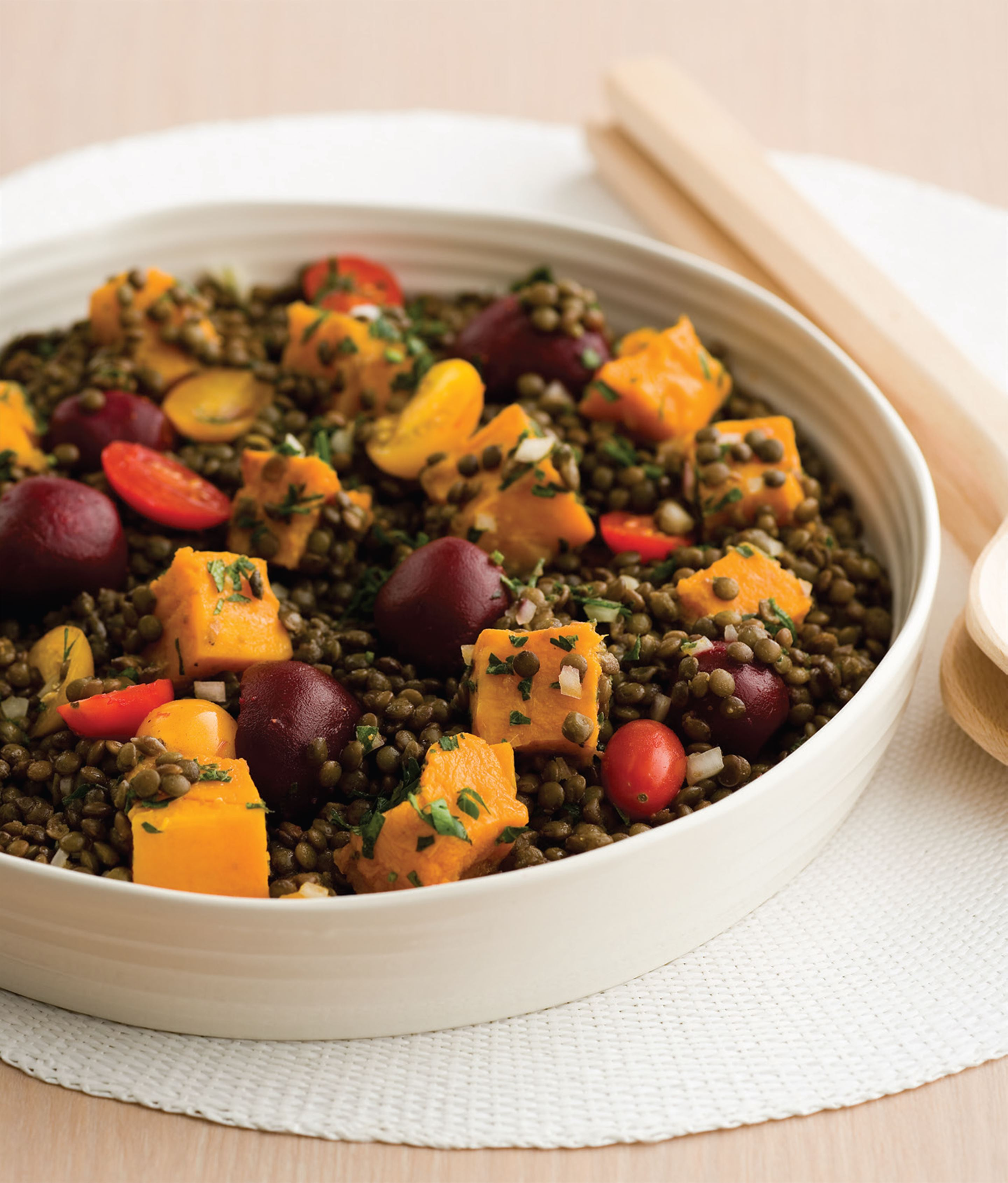 Lentil, beetroot and pumpkin salad