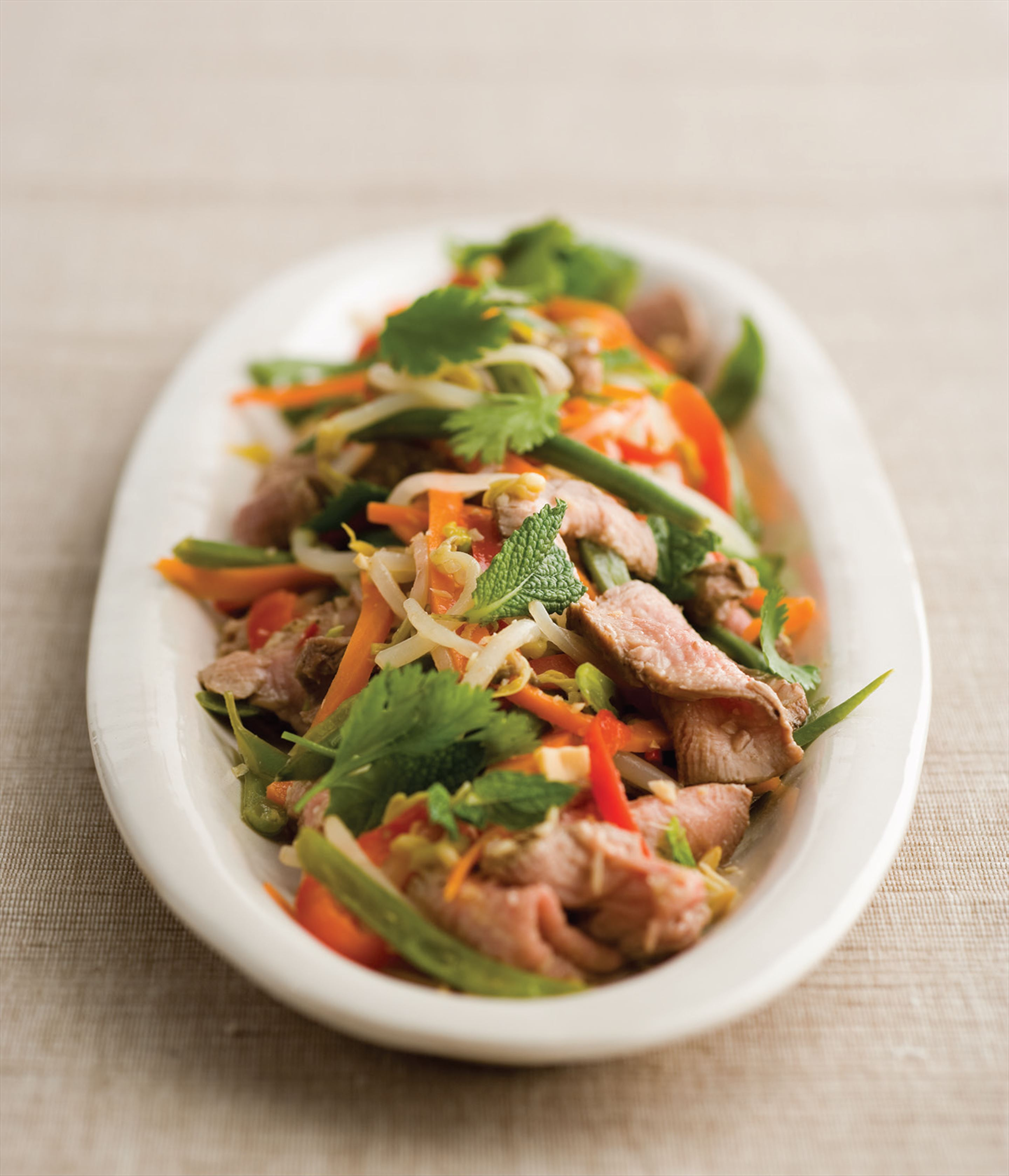 Thai beef salad with vegetables