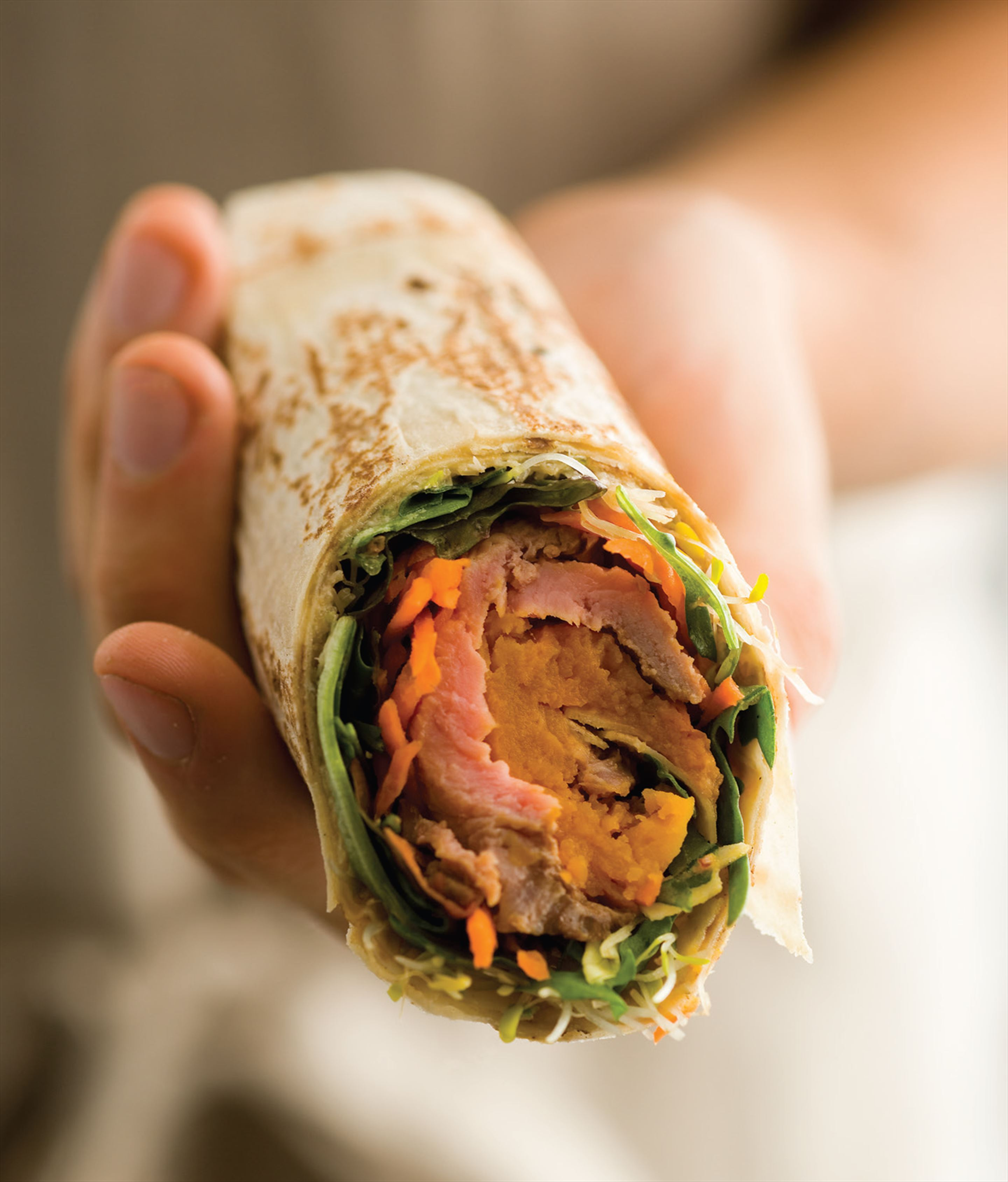 Tasty beef and salad wraps