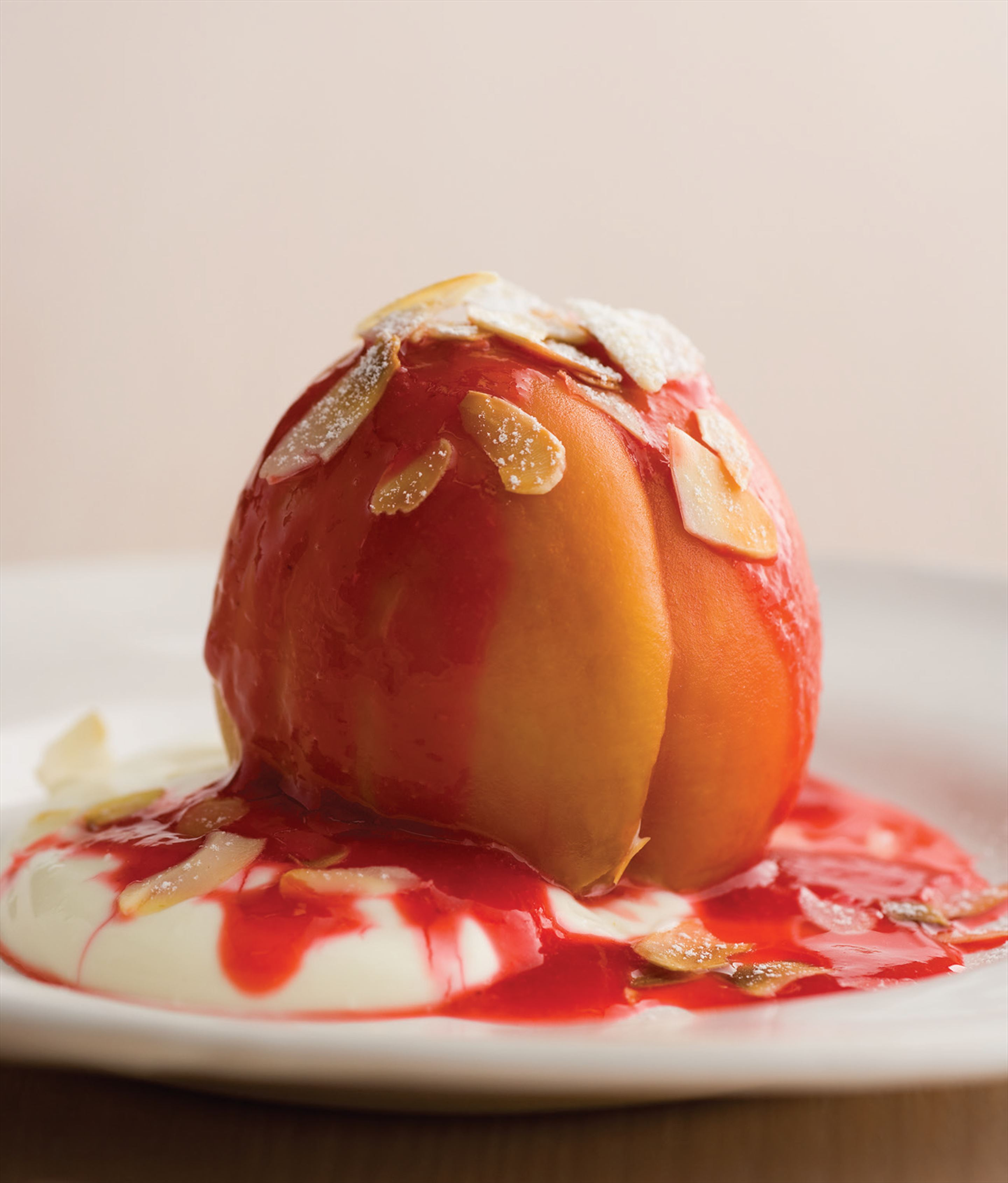 Poached peaches with fromage blanc