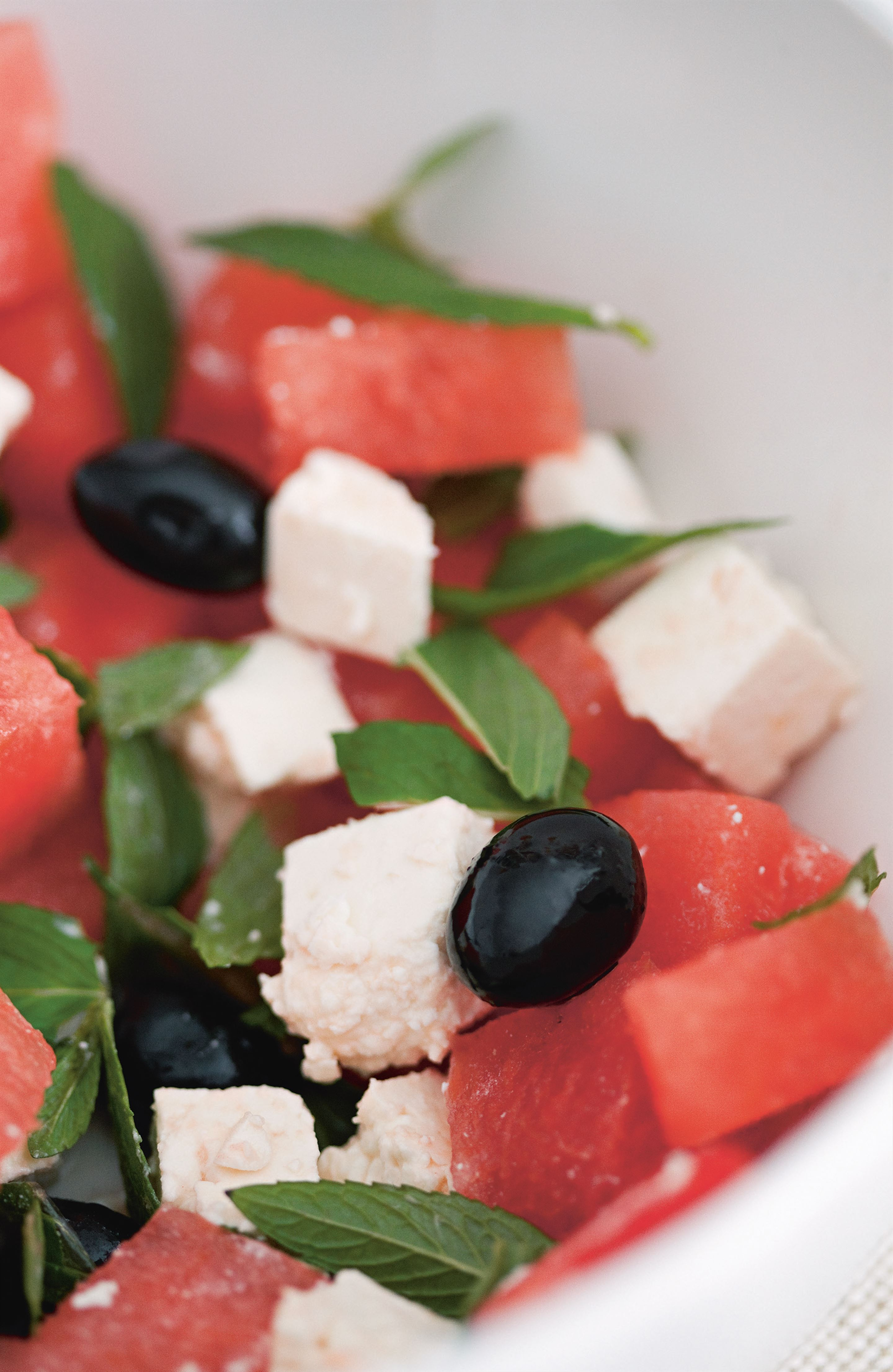 Watermelon, mint, olive and cheese salad