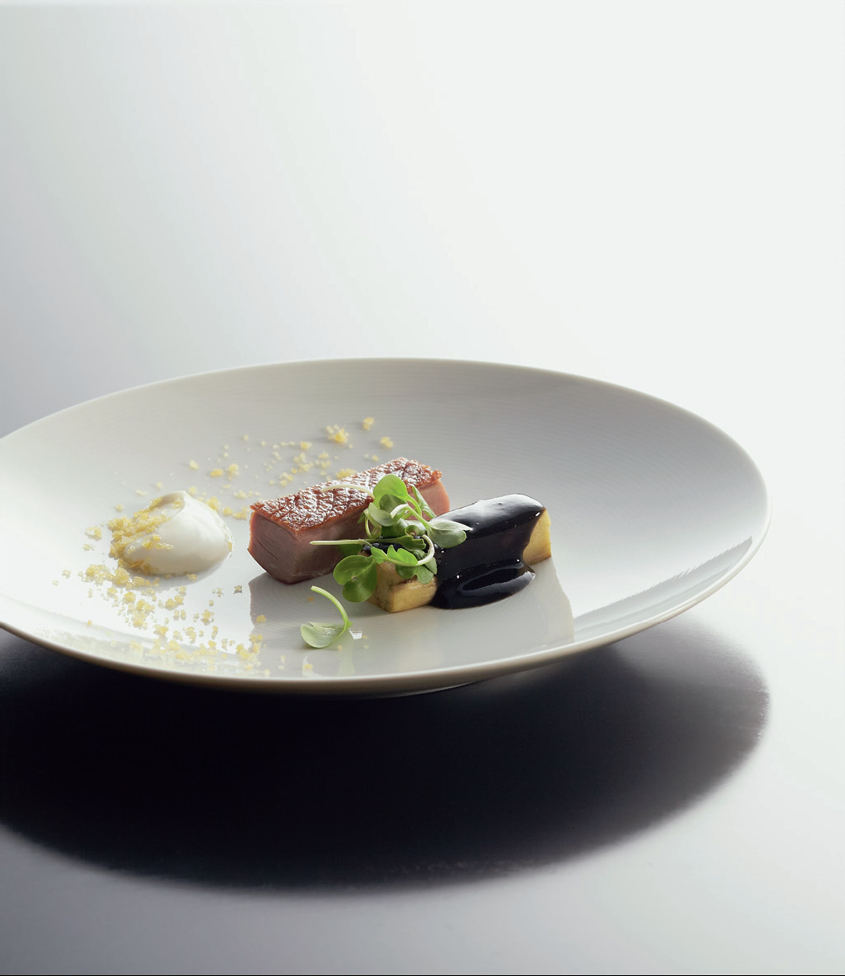 Roast muscovy duck with steamed eggplant, yoghurt and dried scallop