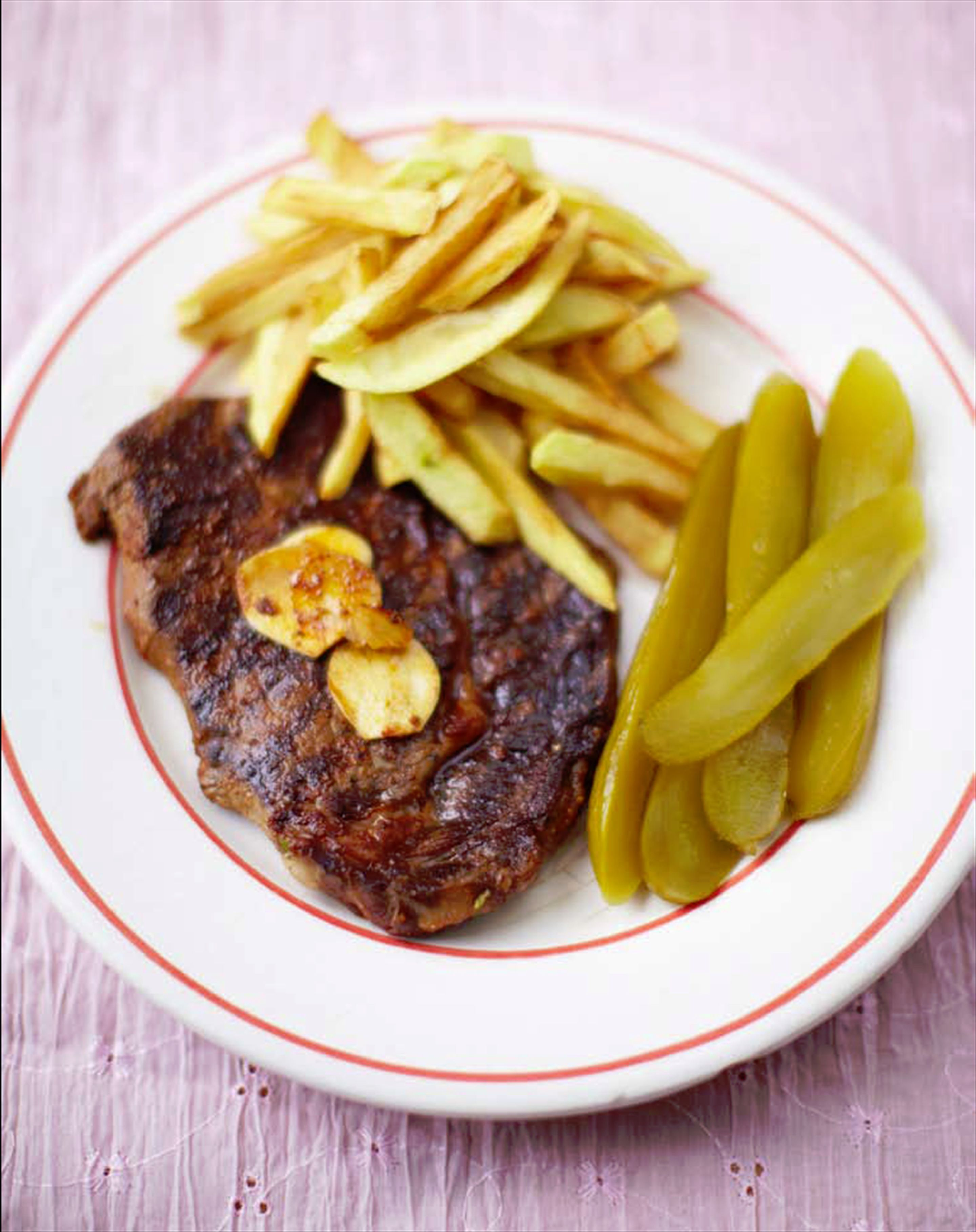 Moroccan steak & chips with pickled cucumbers