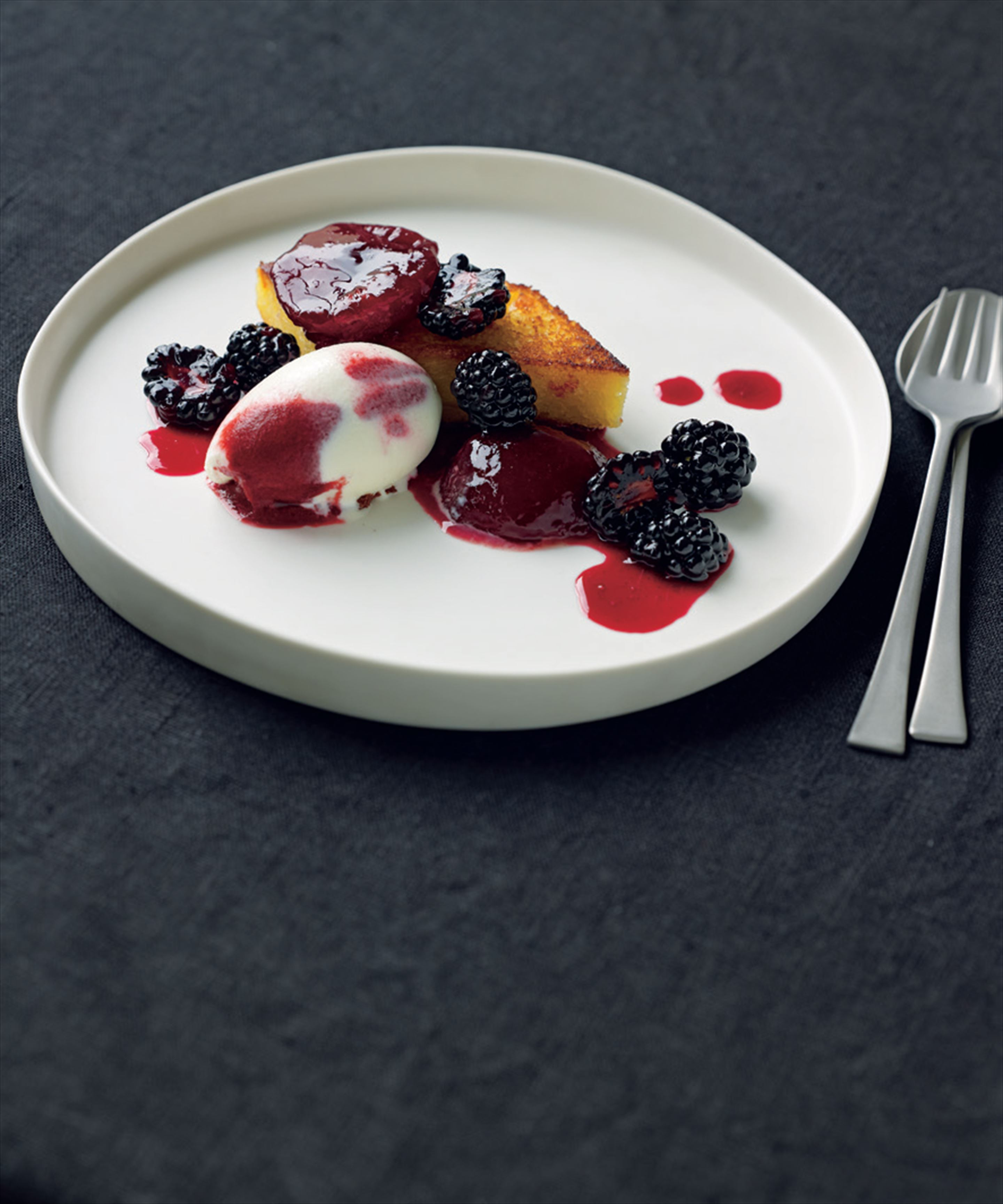 Pain perdu with blood plum and blackberry and yoghurt sorbet