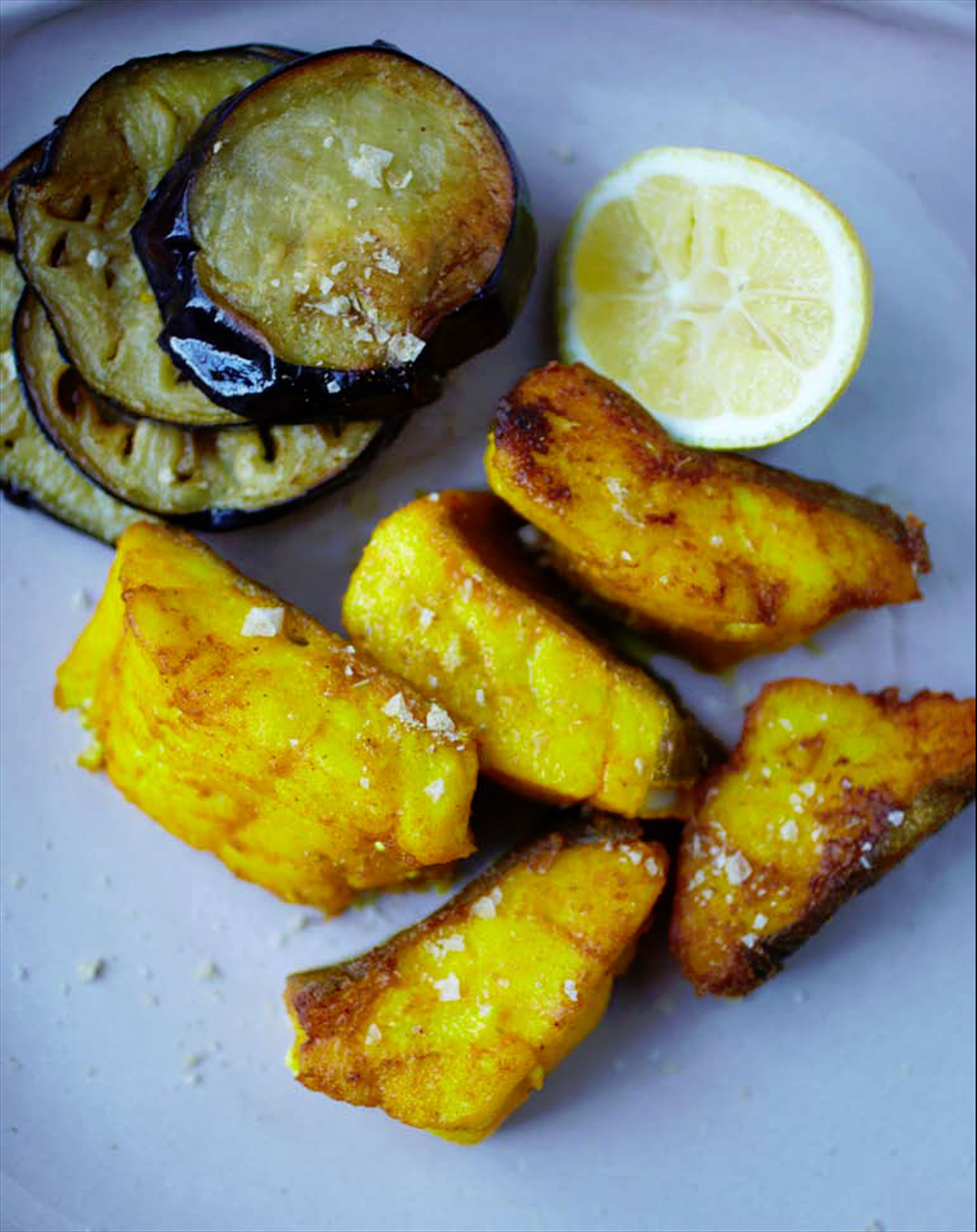 Fried fish & aubergines