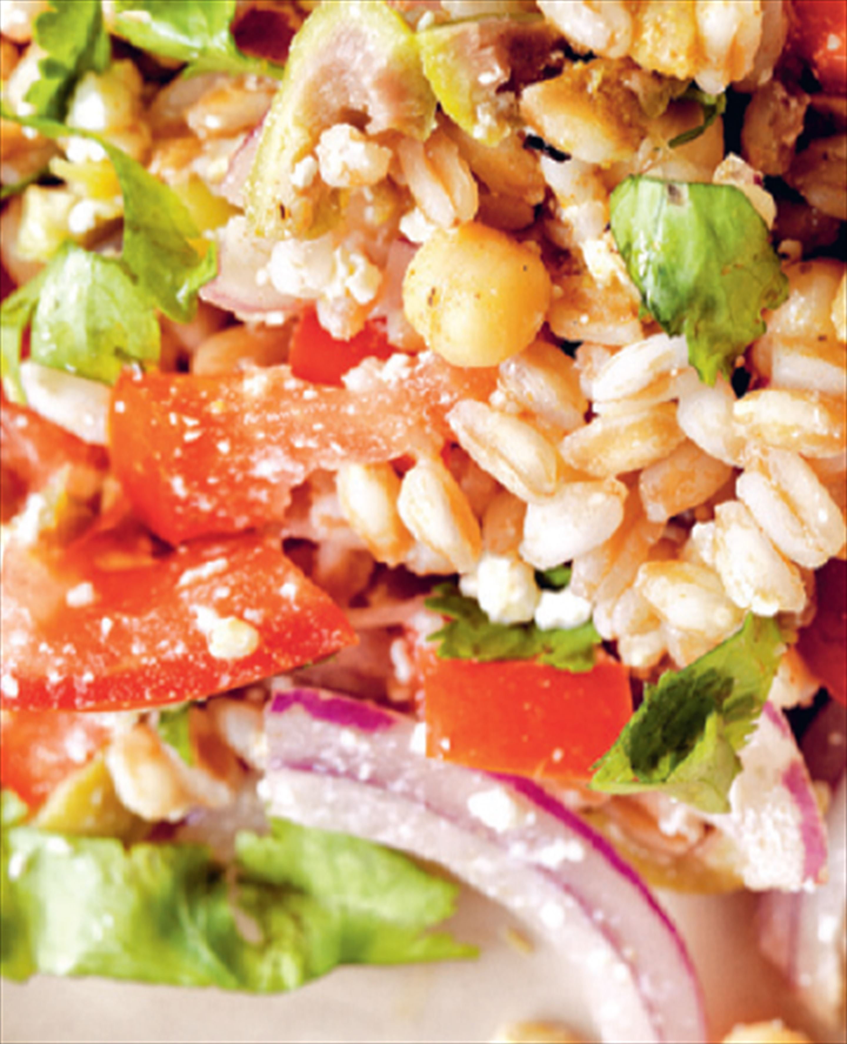 Hot Moroccan farro salad