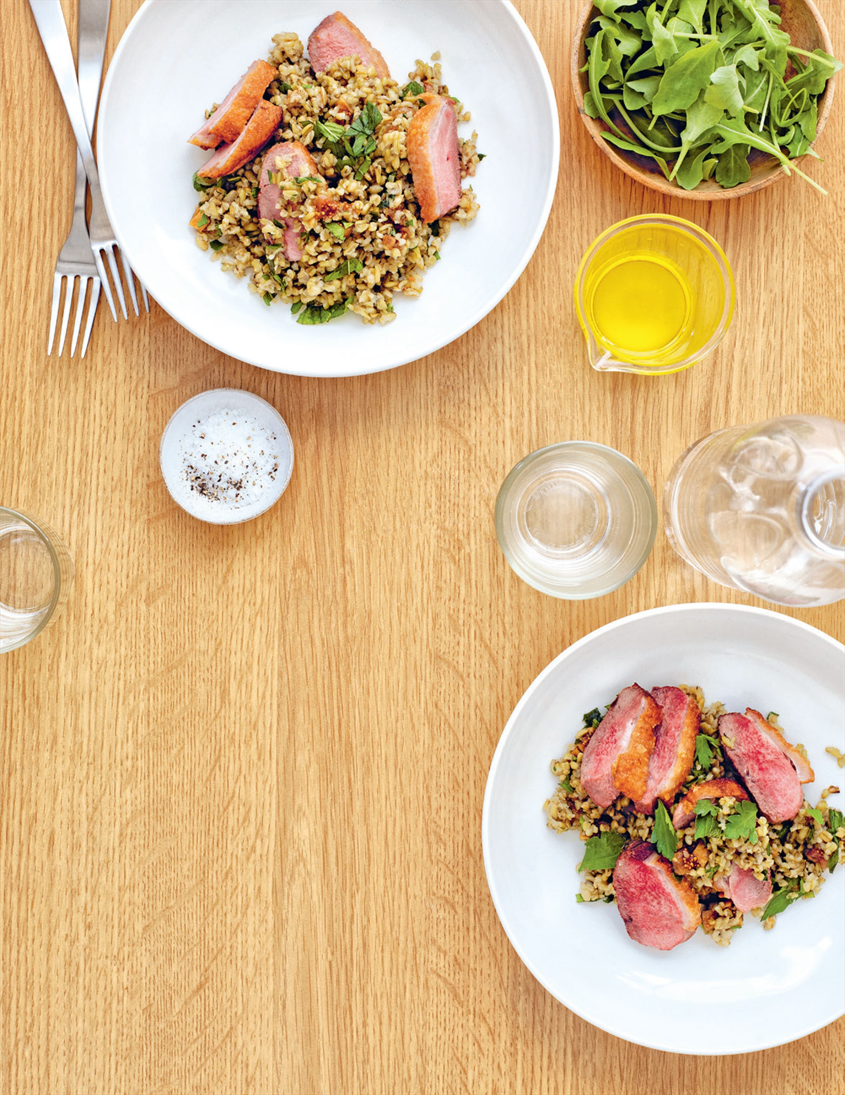 Roast duck breast with herbed freekeh & preserved lemon