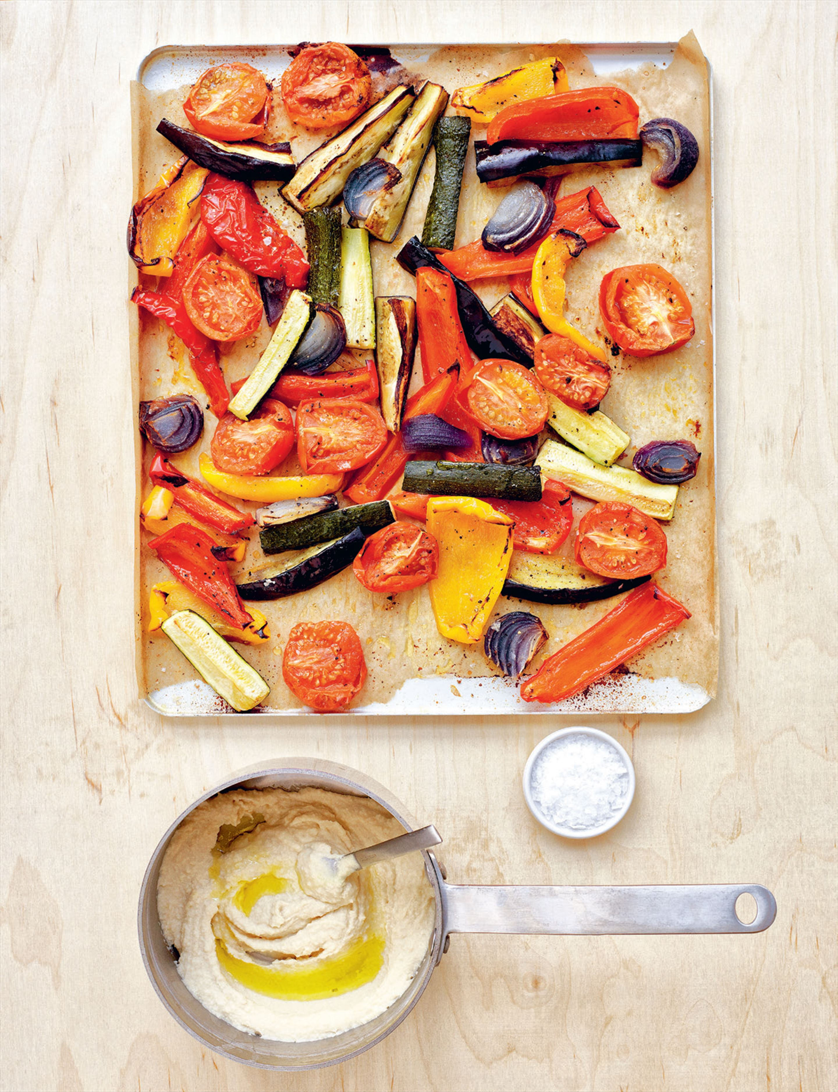 Roast vegetables with white bean skordalia