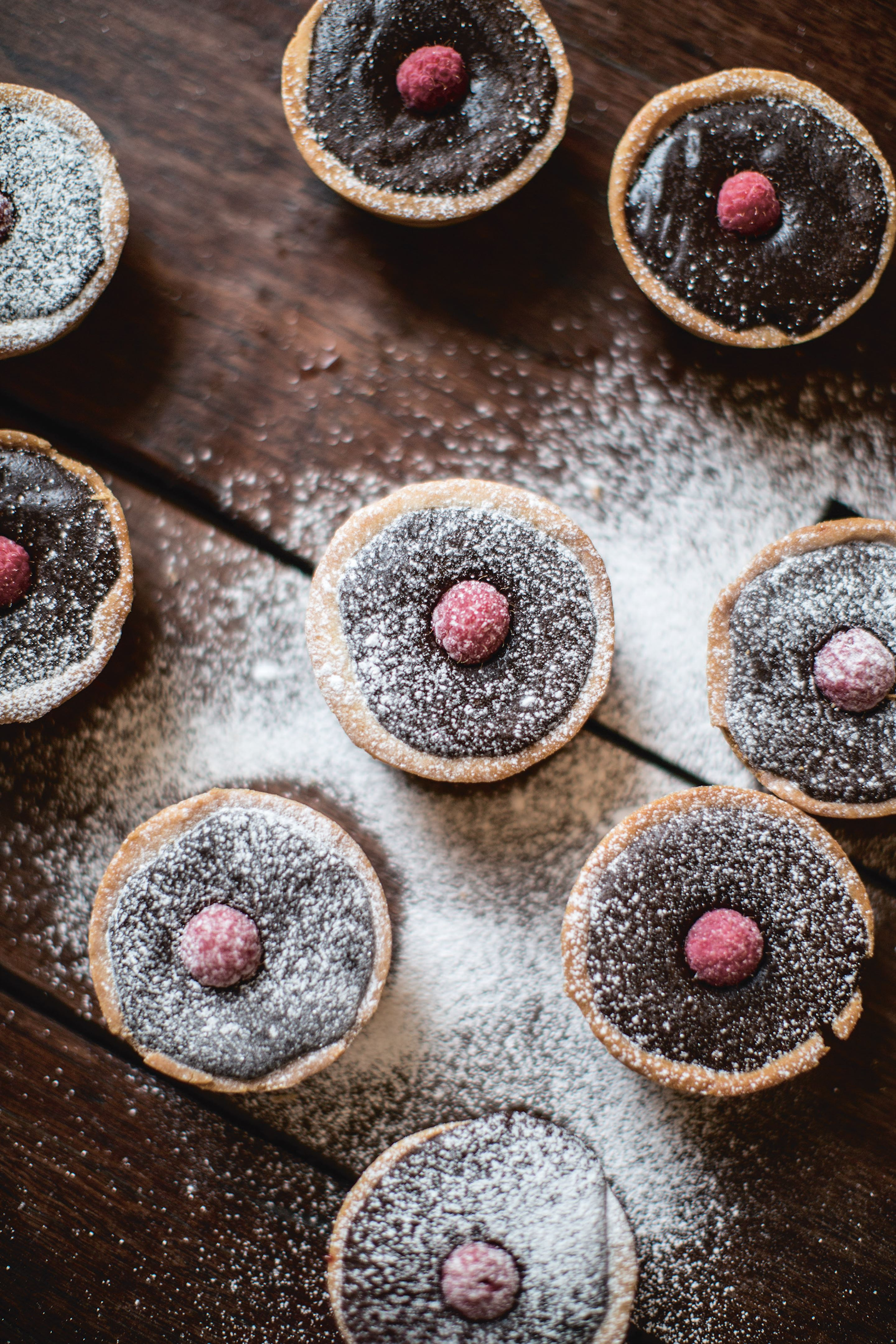 Dark chocolate and raspberry tarts