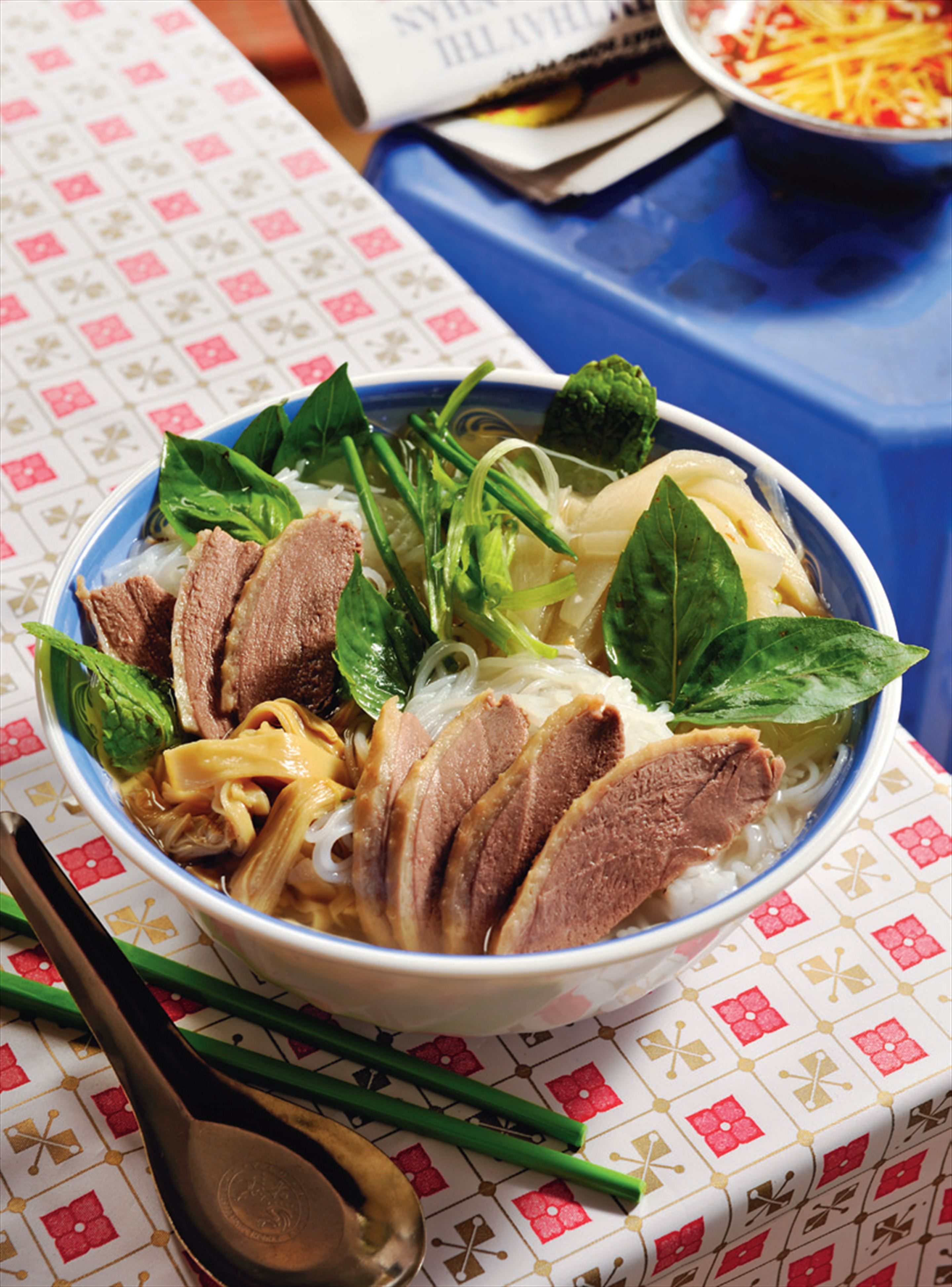 Duck and bamboo noodle soup