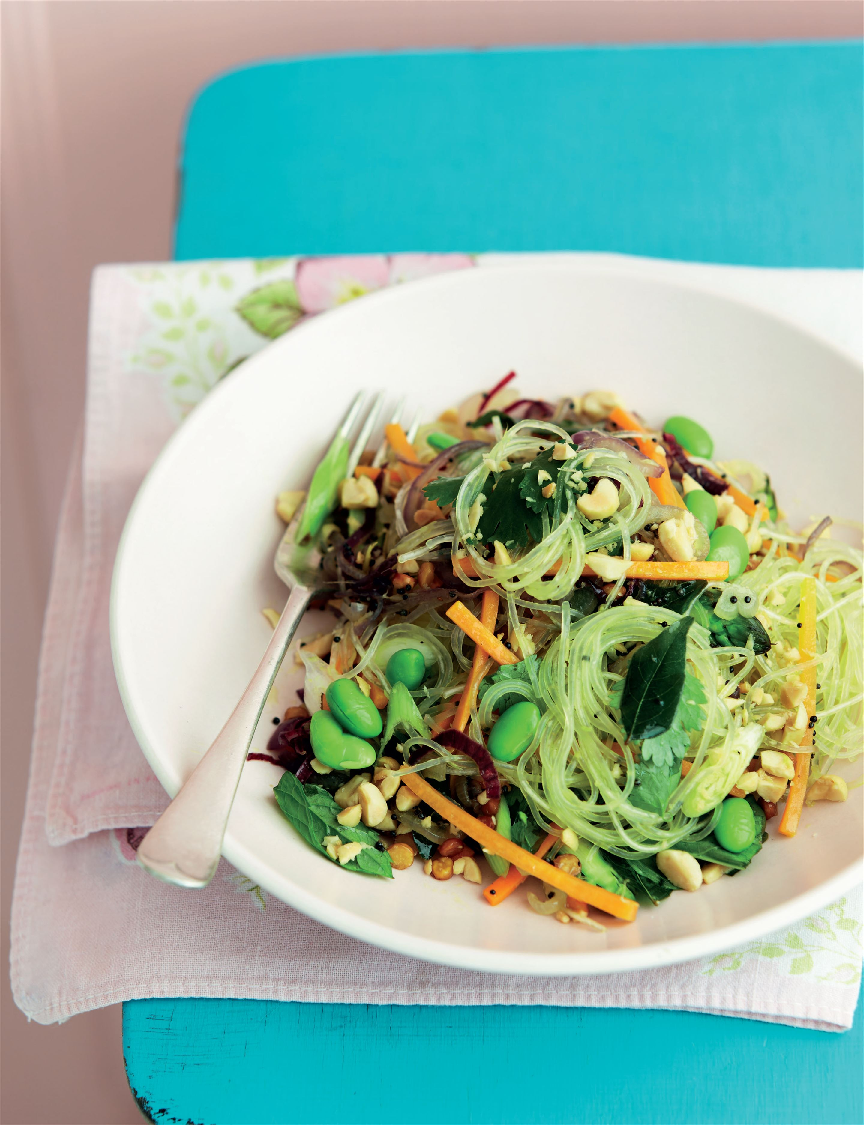 Indian stir-fried spring veg vermicelli with peanuts